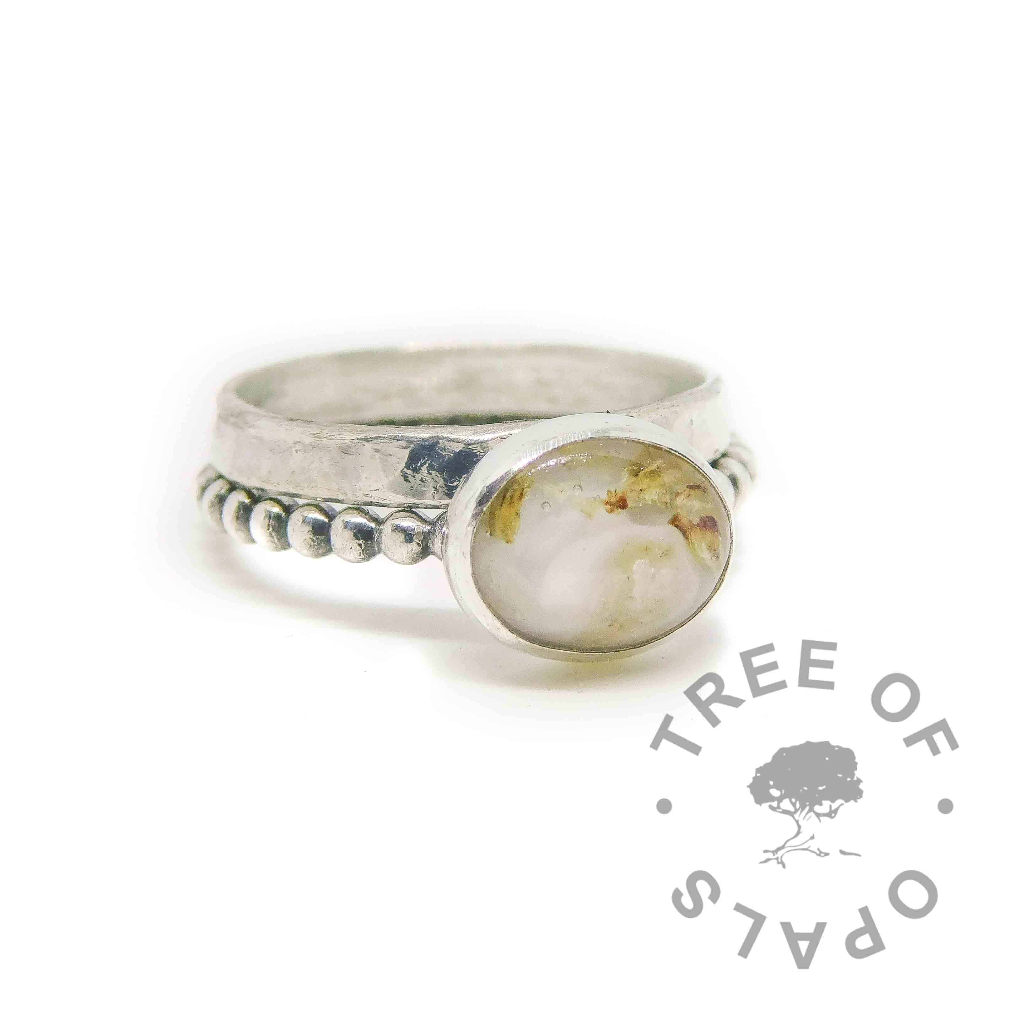umbilical cord ring moonstone June birthstone on bubble wire band with wide band textured stacking ring