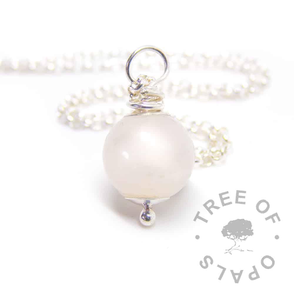 breastmilk pearl moonstone June birthstone, resin sphere set with solid sterling silver breastmilk necklace setting