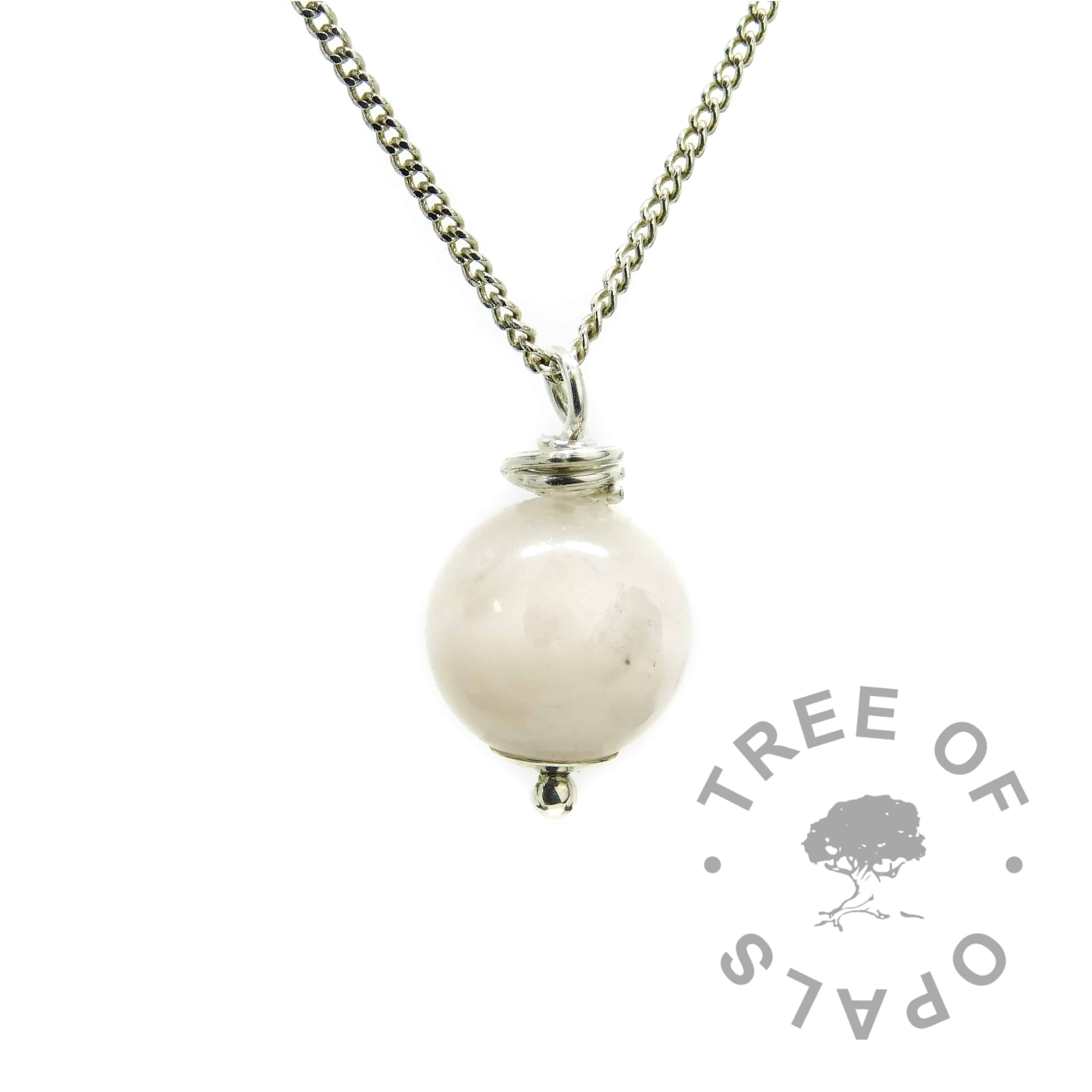 breastmilk pearl moonstone June birthstone necklace with medium heavy chain upgrade