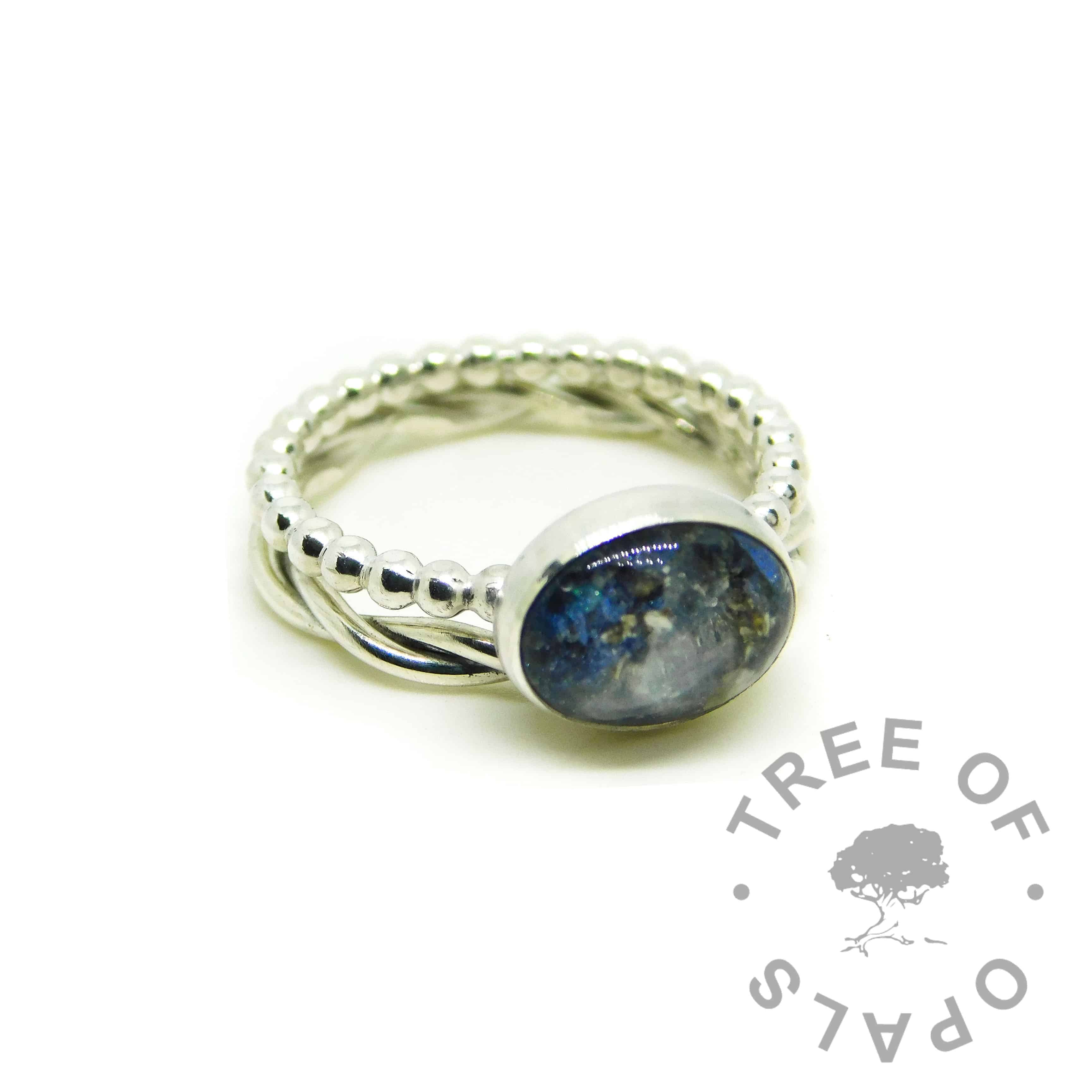ash ring with Aegean blue resin sparkle mix and moonstone June birthstone, twisted wire stacking ring addition