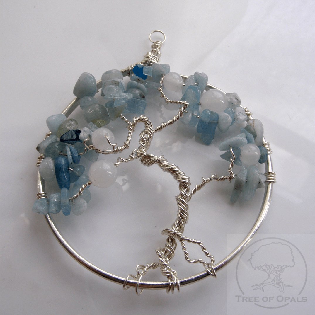 Rough natural aquamarine march birthstone for tree of for Breastmilk jewelry tree of life