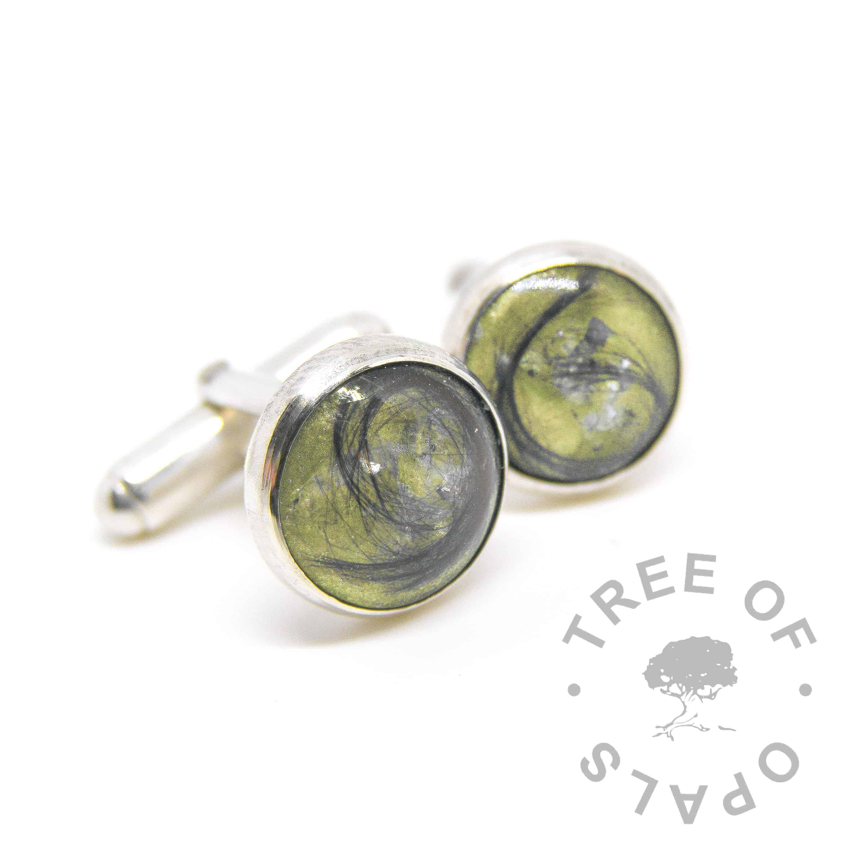 lock of hair cufflinks olive