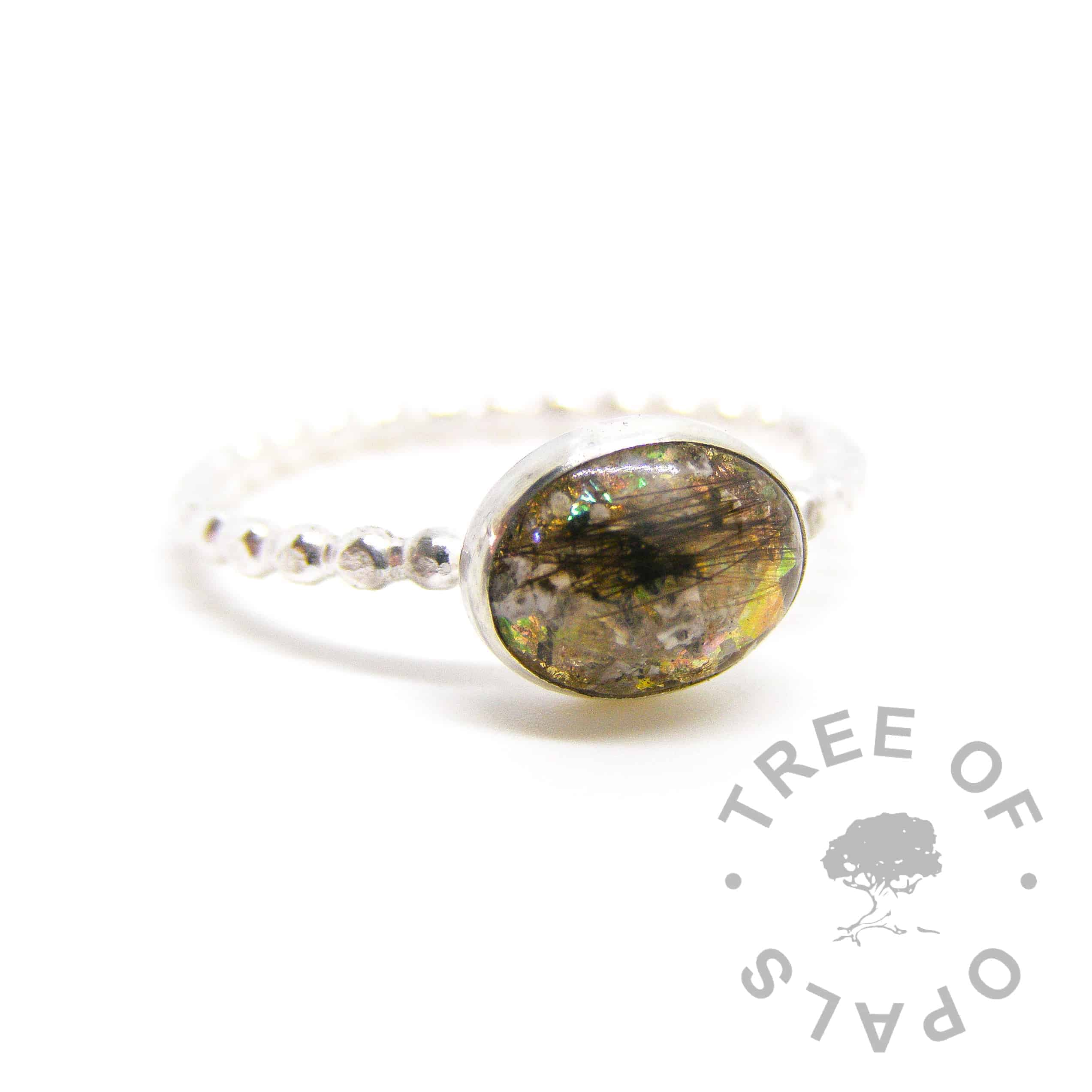 cremation ashes and hair ring in resin, white opalescent, yellow topaz November birthstone, genuine gold leaf with solid sterling silver Tree of Opals handmade bubble wire ring setting, cremation ash ring lock of hair ring