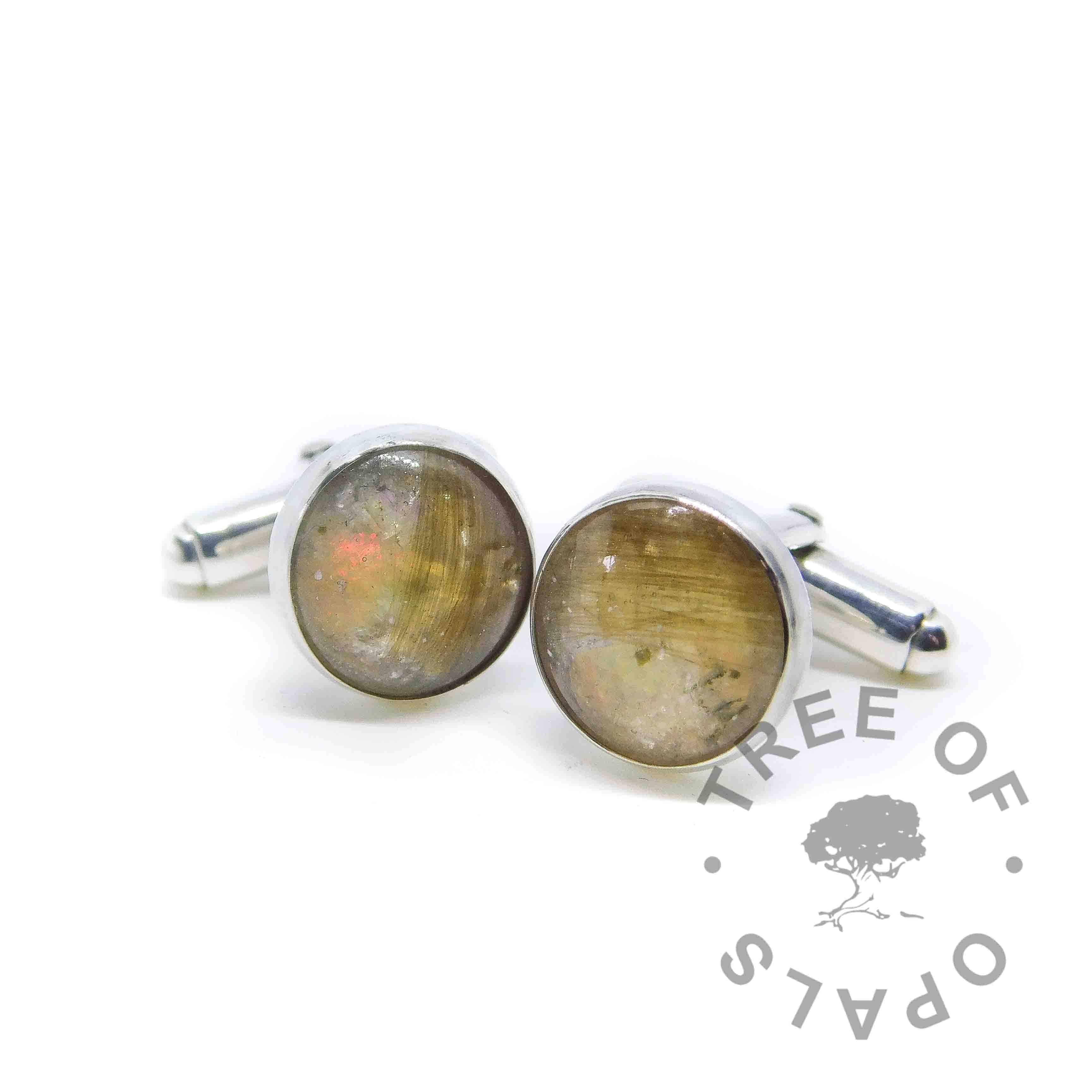 hair cufflinks opal October birthstone, handmade memorial cufflinks