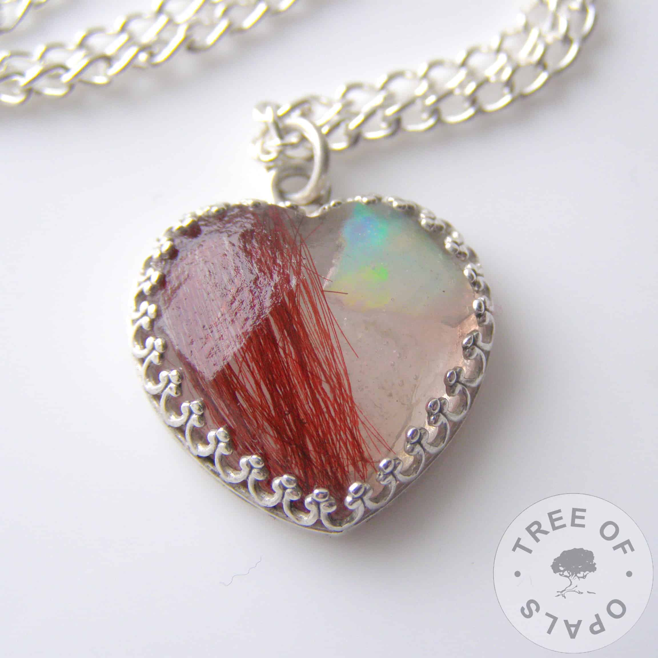 lock of hair heart with genuine opal slices and beautiful bright red hair