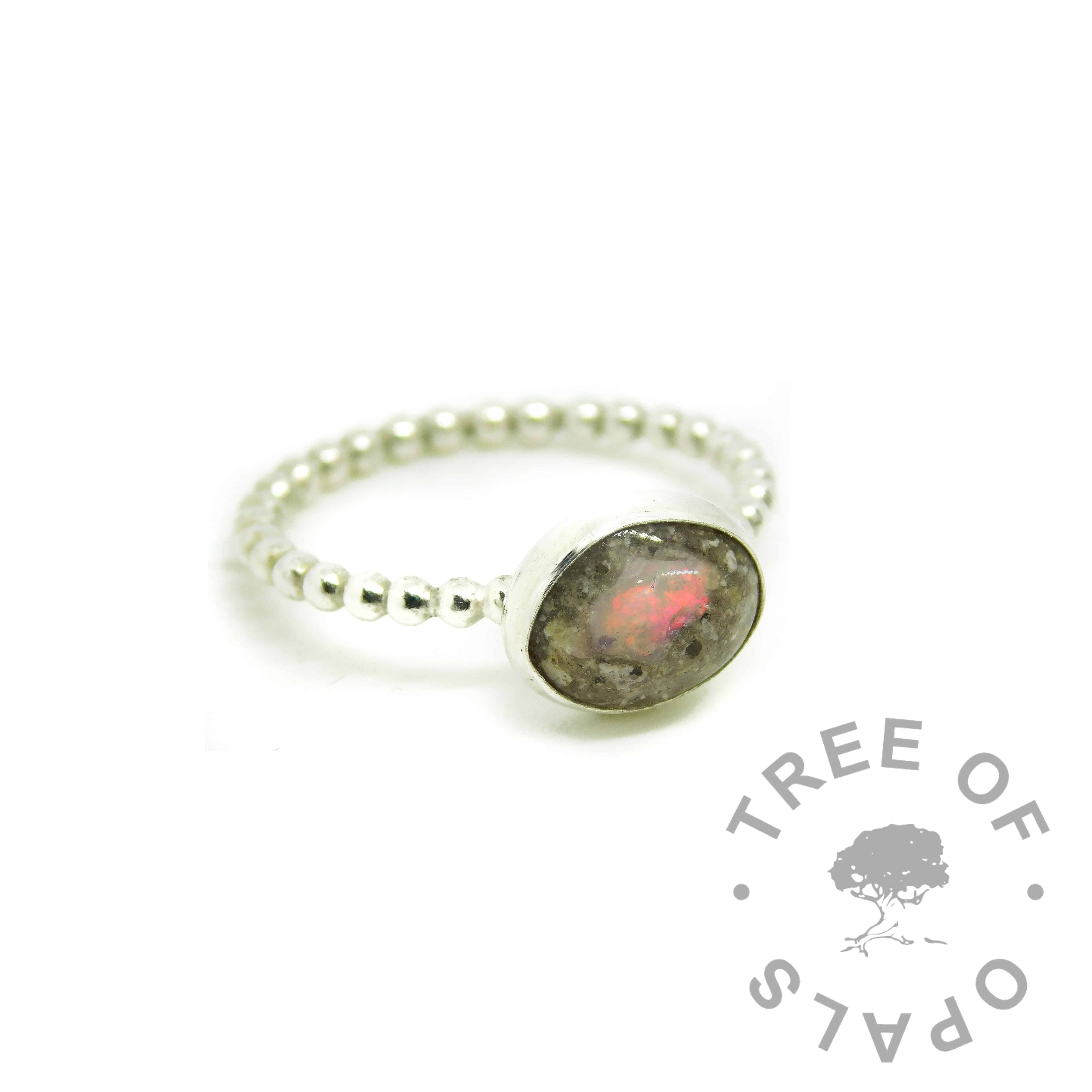 cremation ash ring with rough natural opal October birthstone - resin ashes ring