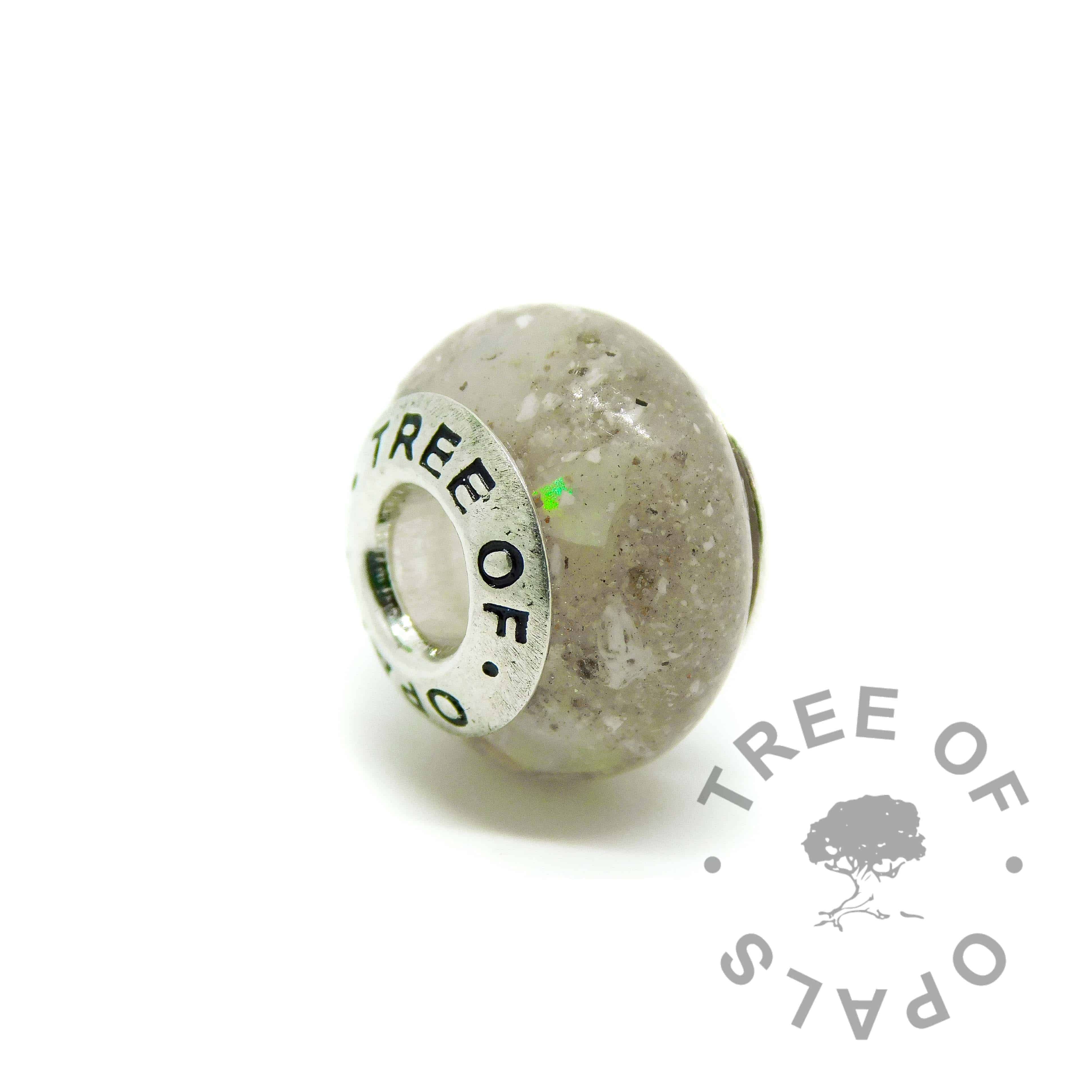 cremation ash charm unicorn white sparkle mix, October birthstone genuine opal slices, solid silver Tree of Opals core