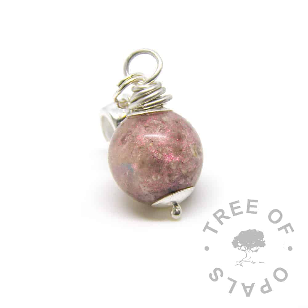 cremation ash pearl with fairy pink and opal on a European dangle charm setting for Pandora bracelets