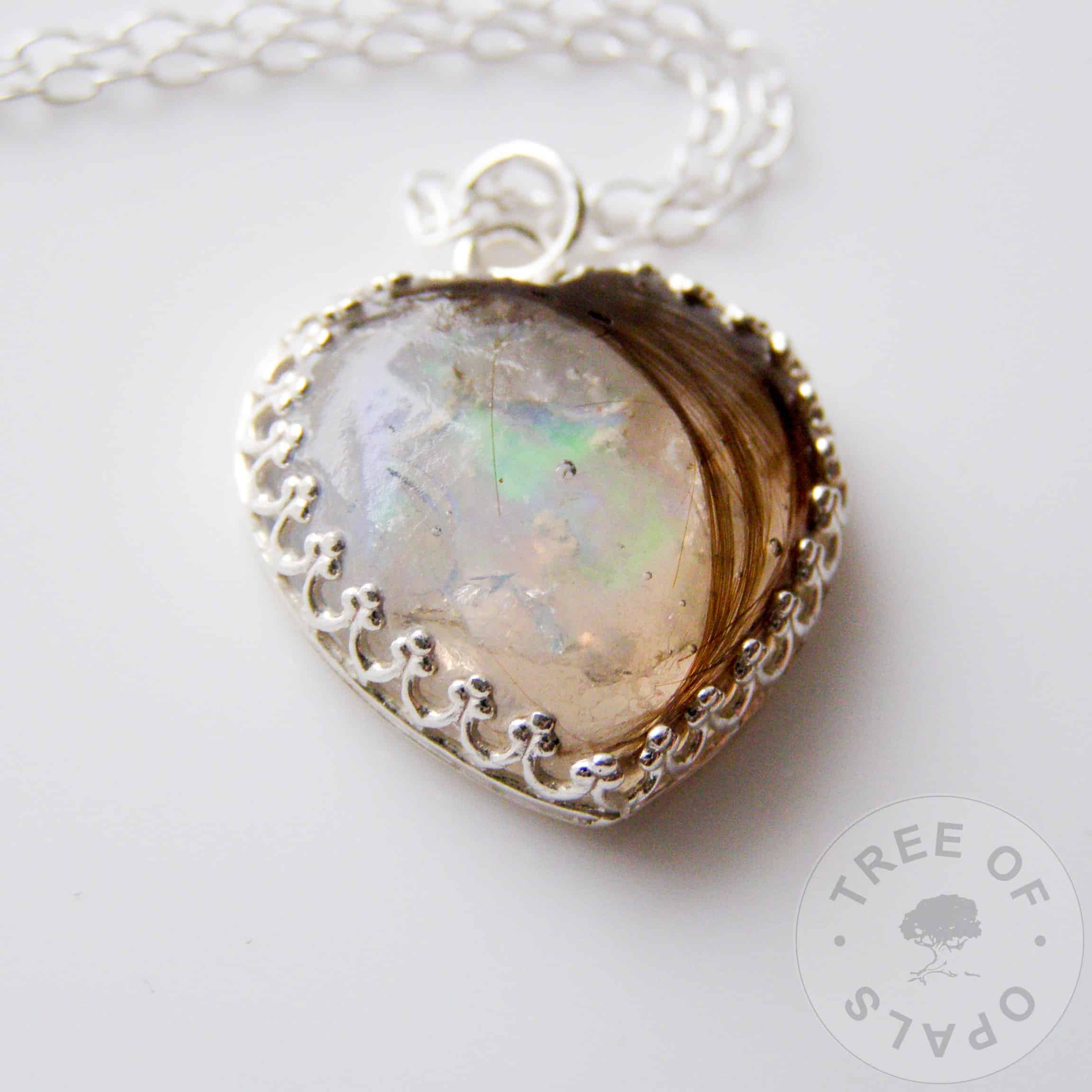 Lock of Hair Heart Necklace with Genuine Opal