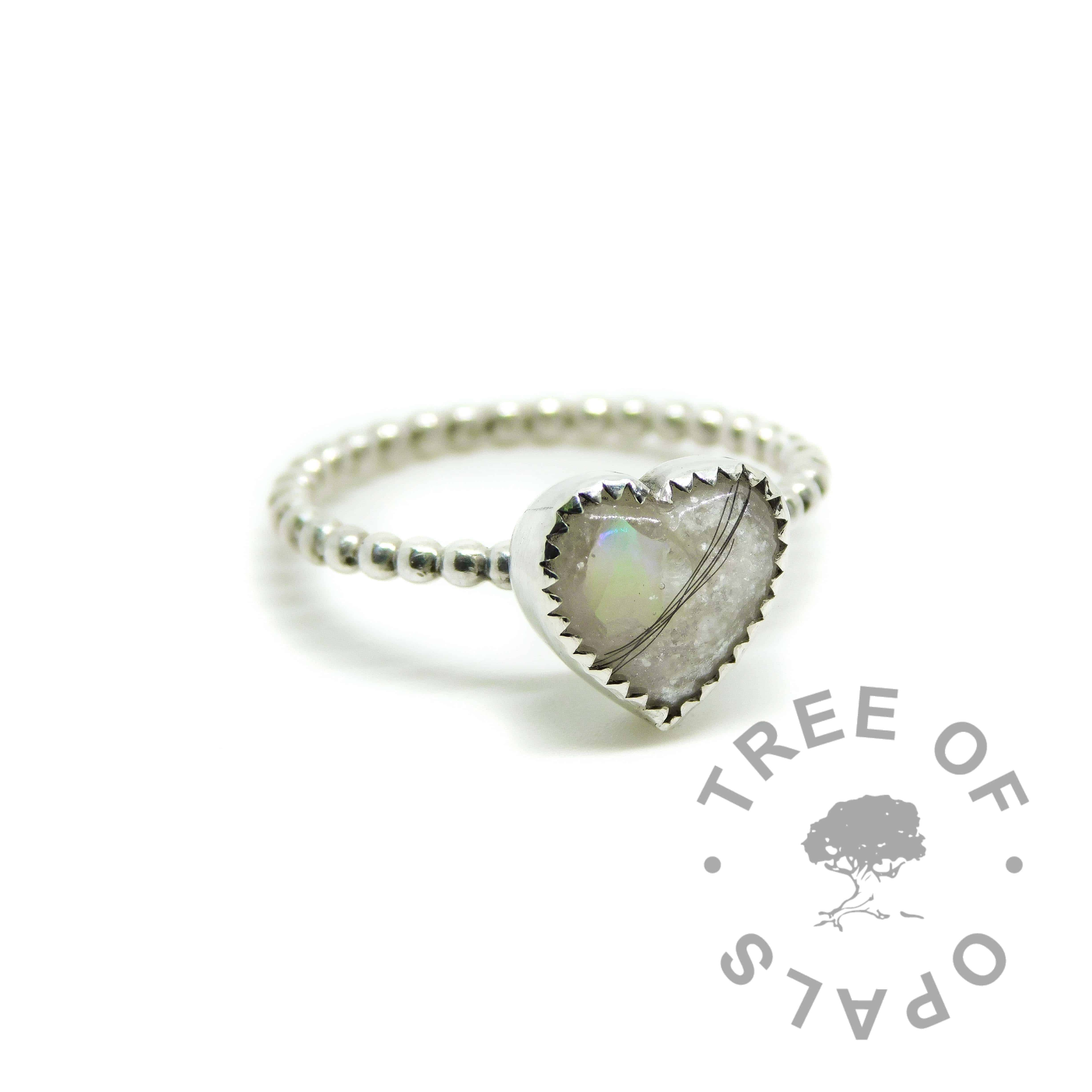 lock of hair heart ring opal