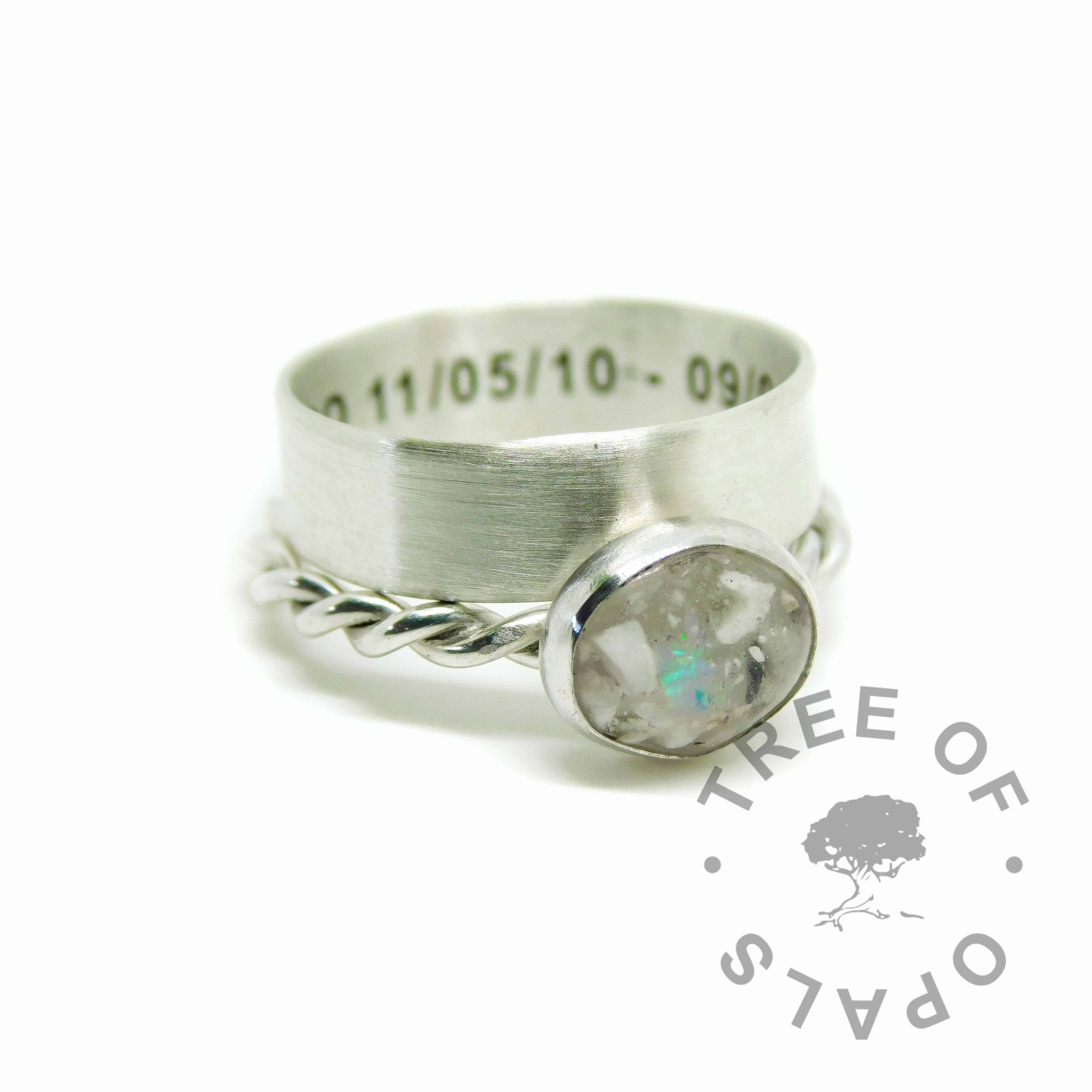 opal ash ring on twisted wire band and engraved 6mm wide band stacker