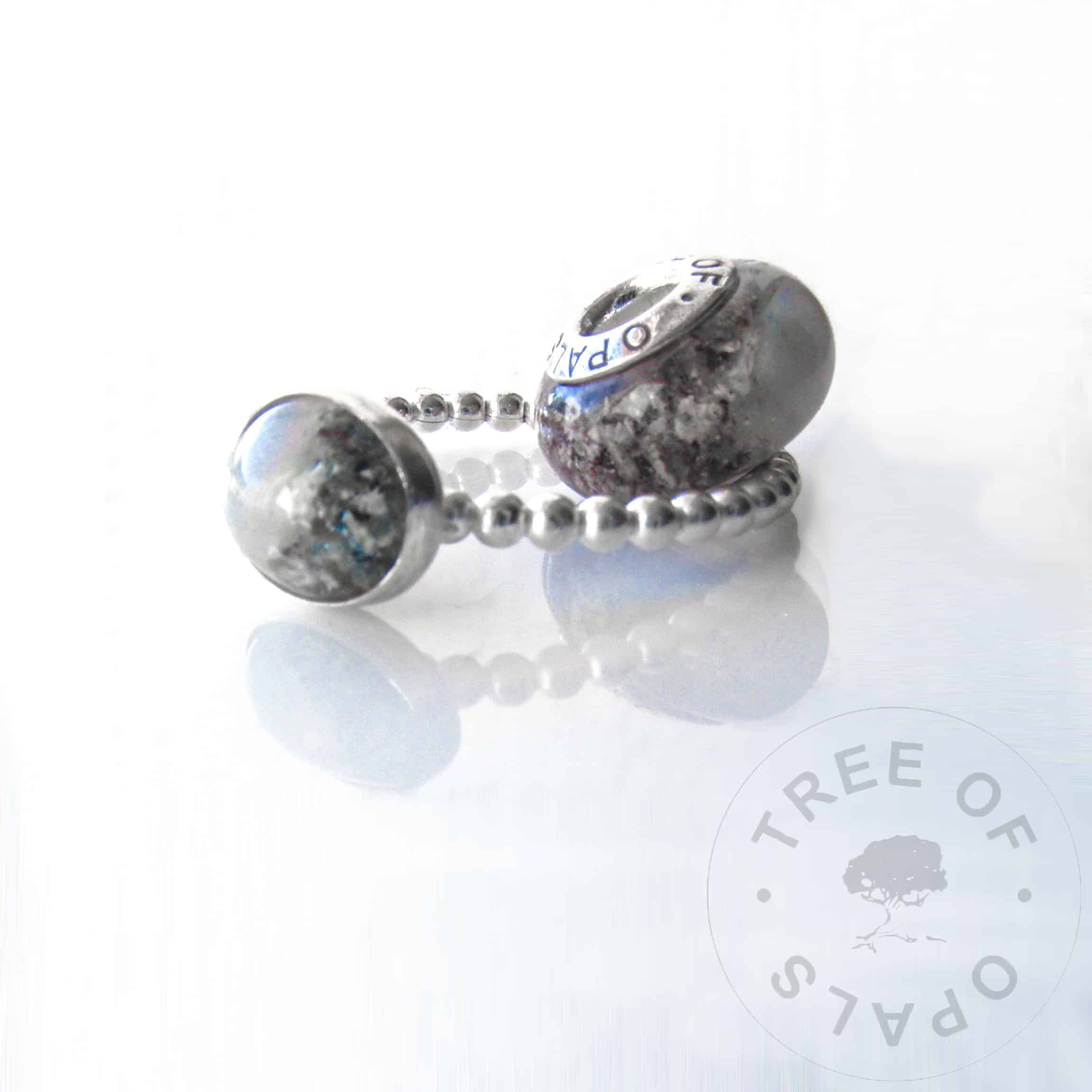 umbilical cord and cremation ash charm bead and ring with real opal flakes