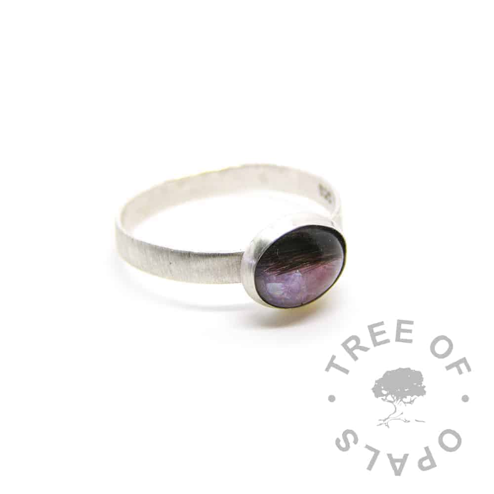 lock of hair breastmilk ring purple and pink with July birthstone ruby