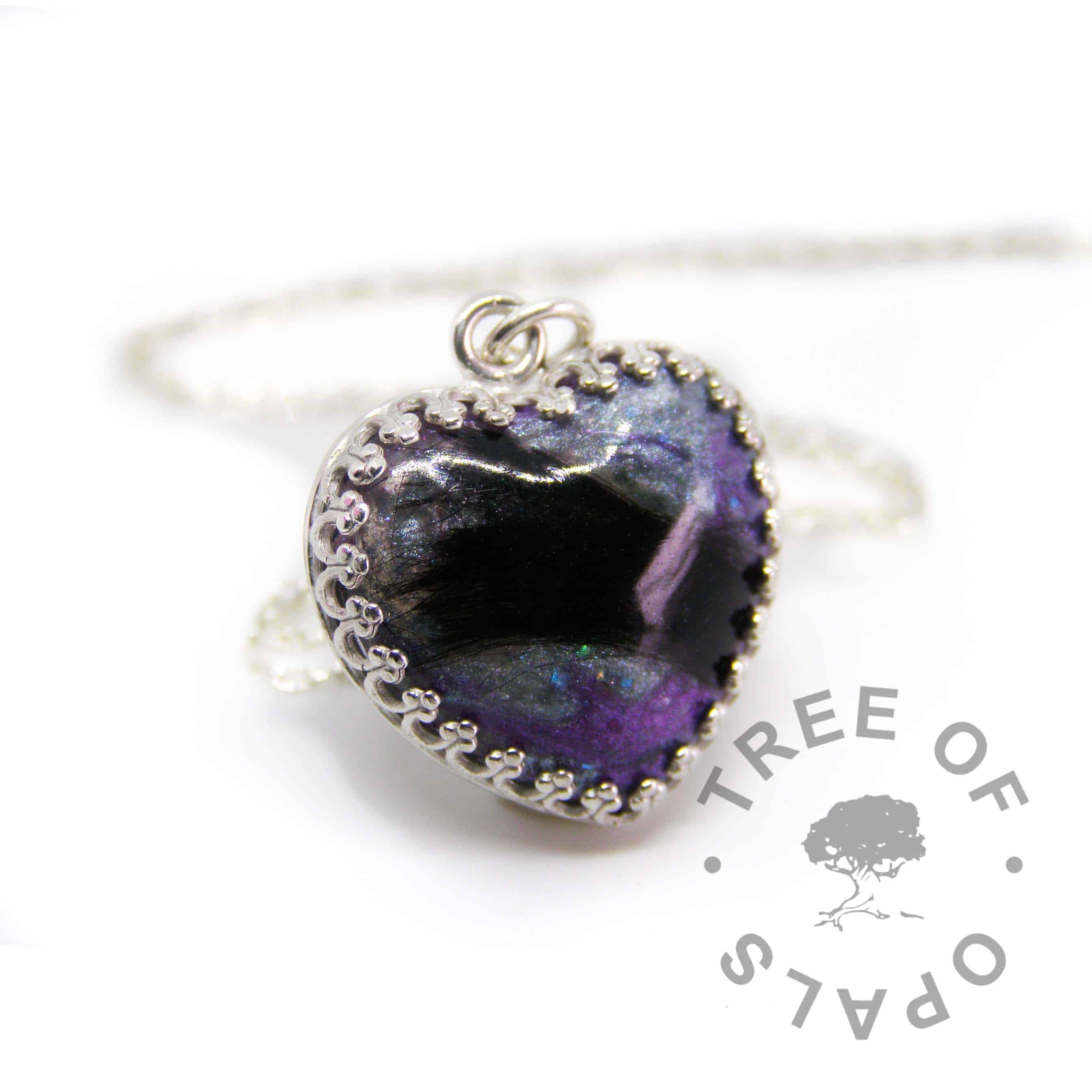 "lock of hair heart necklace mermaid teal and black fur, with a little deep purple colour. Solid sterling silver with a 20"" fine weight chain (50cm)"