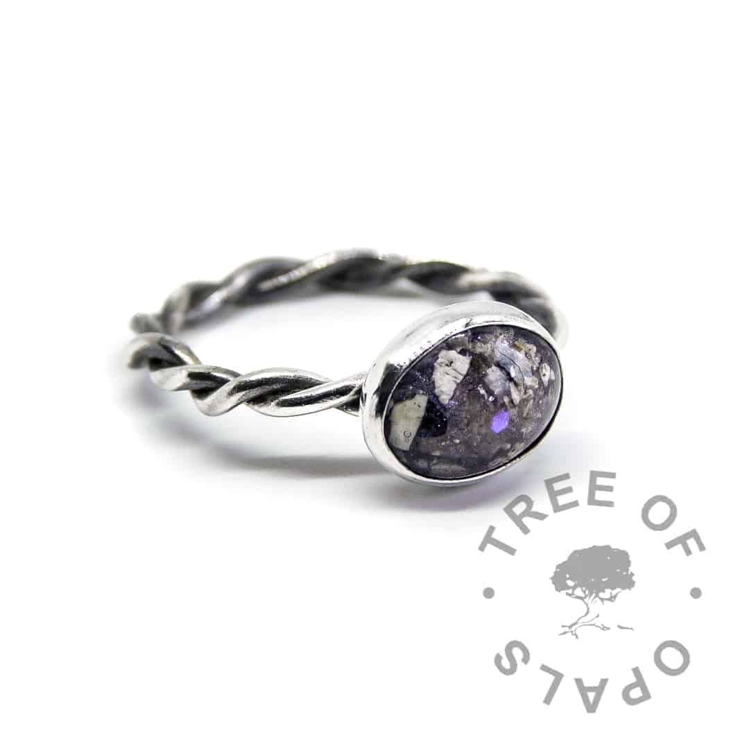 orchid purple ash ring twisted band sterling silver