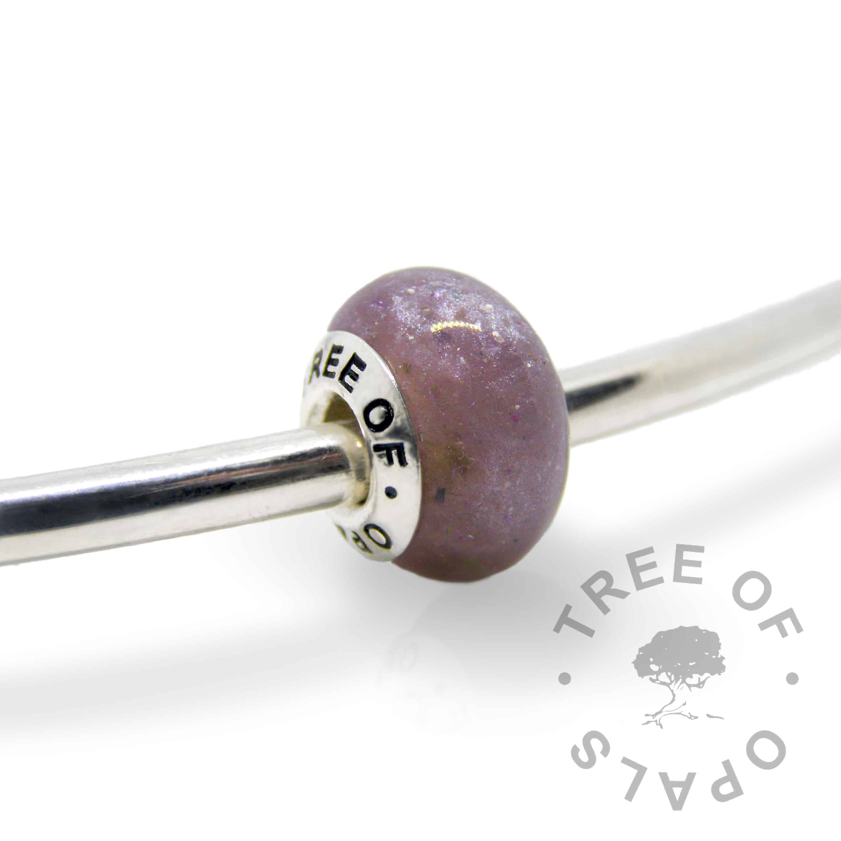 orchid purple cremation ash charm with solid sterling silver Tree of Opals core