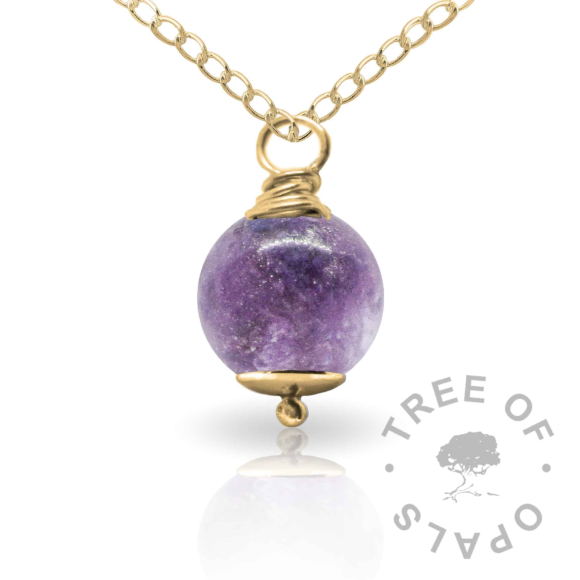 orchid purple gold cremation ash pearl Tree of Opals memorial jewellery