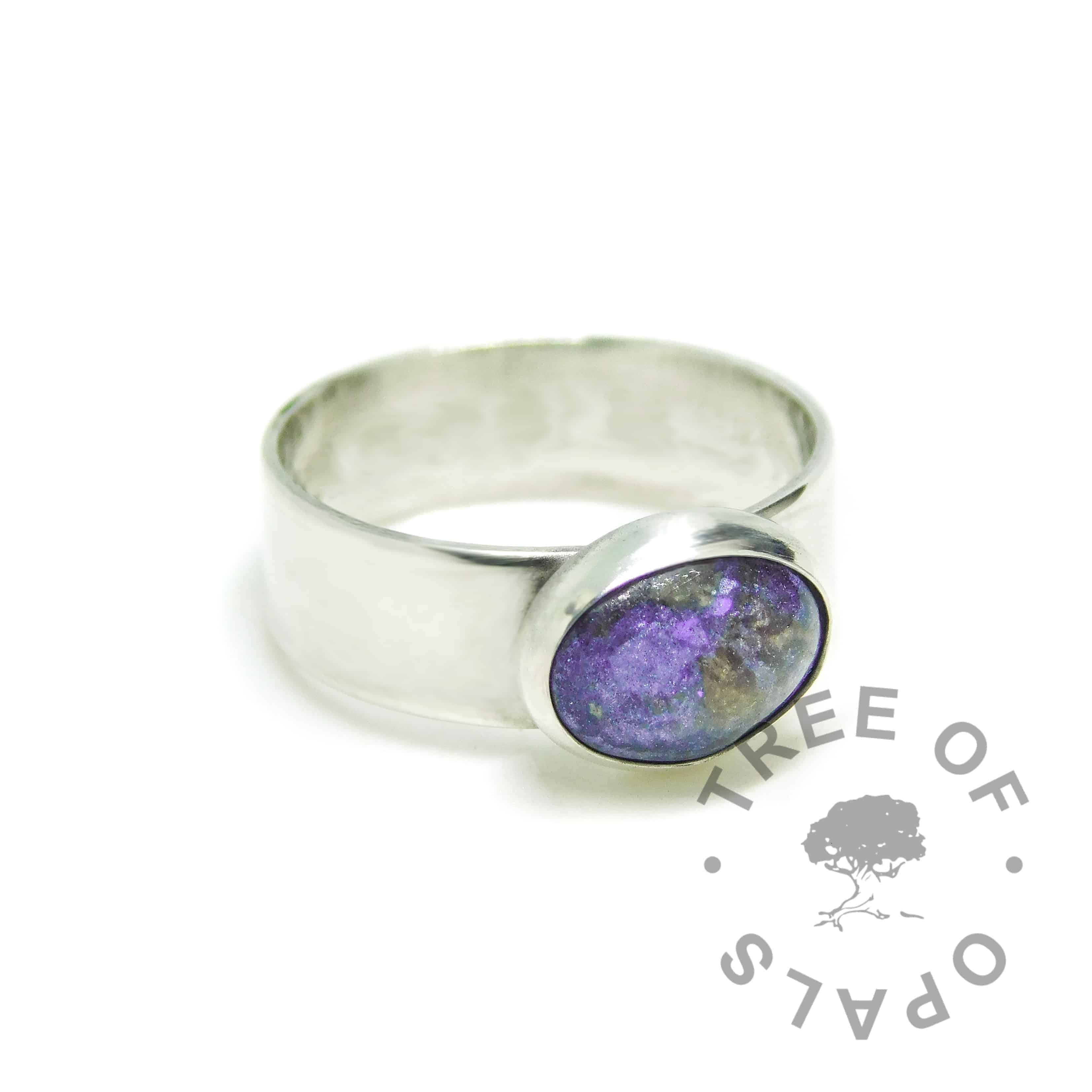 orchid purple placenta ring mockup on 6mm shiny band. Solid 925 sterling EcoSilver handmade ring (umbilical cord ring mockup). 10x8mm bezel cup rubbed over the cabochon for security.