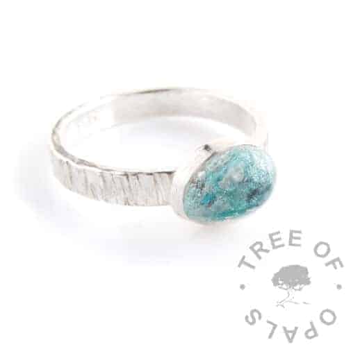 cremation ash ring tree bark ring band and turquoise shimmer resin with teal mermaid glitter