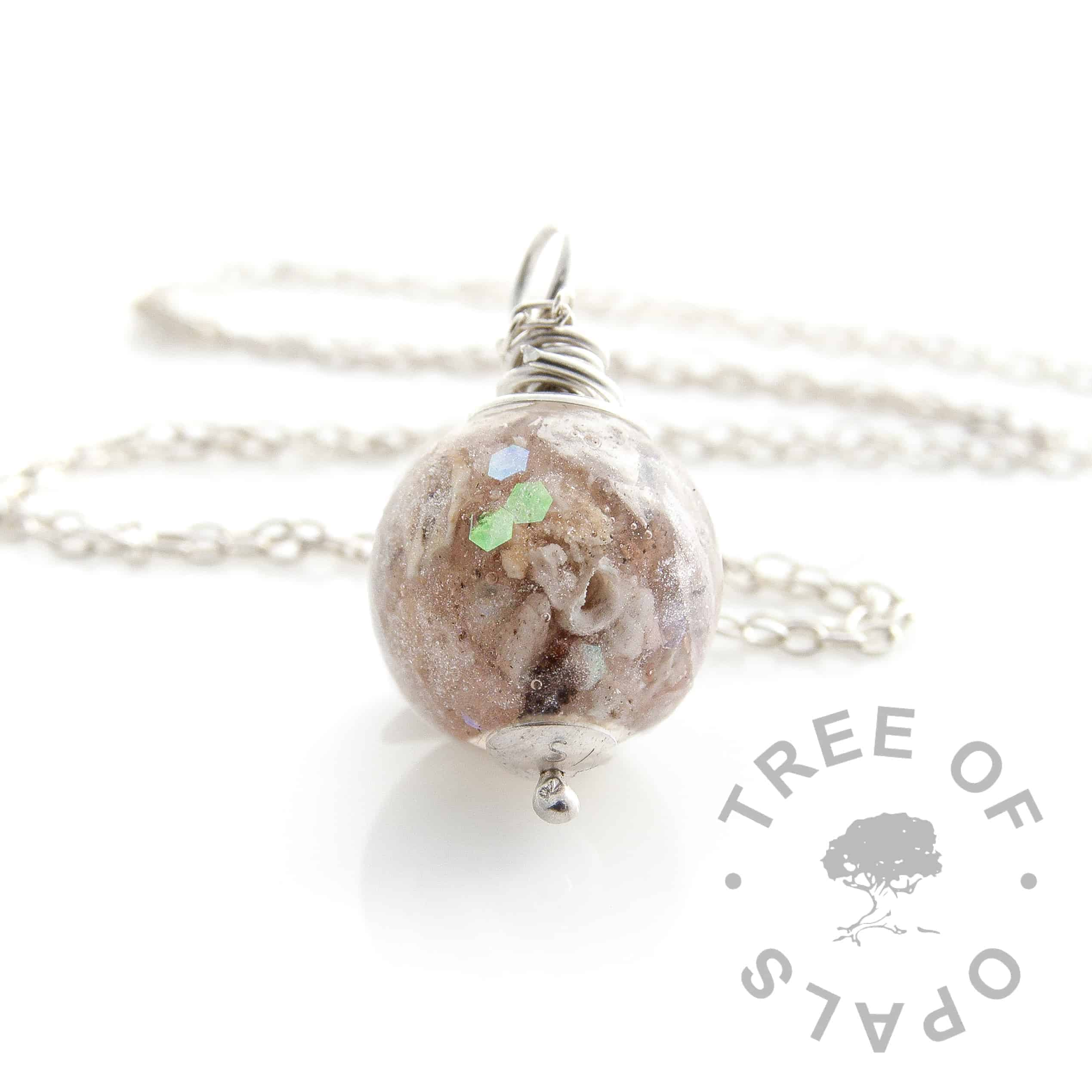 white opalescent cremation ash pearl necklace wire wrapped Tree of Opals memorial