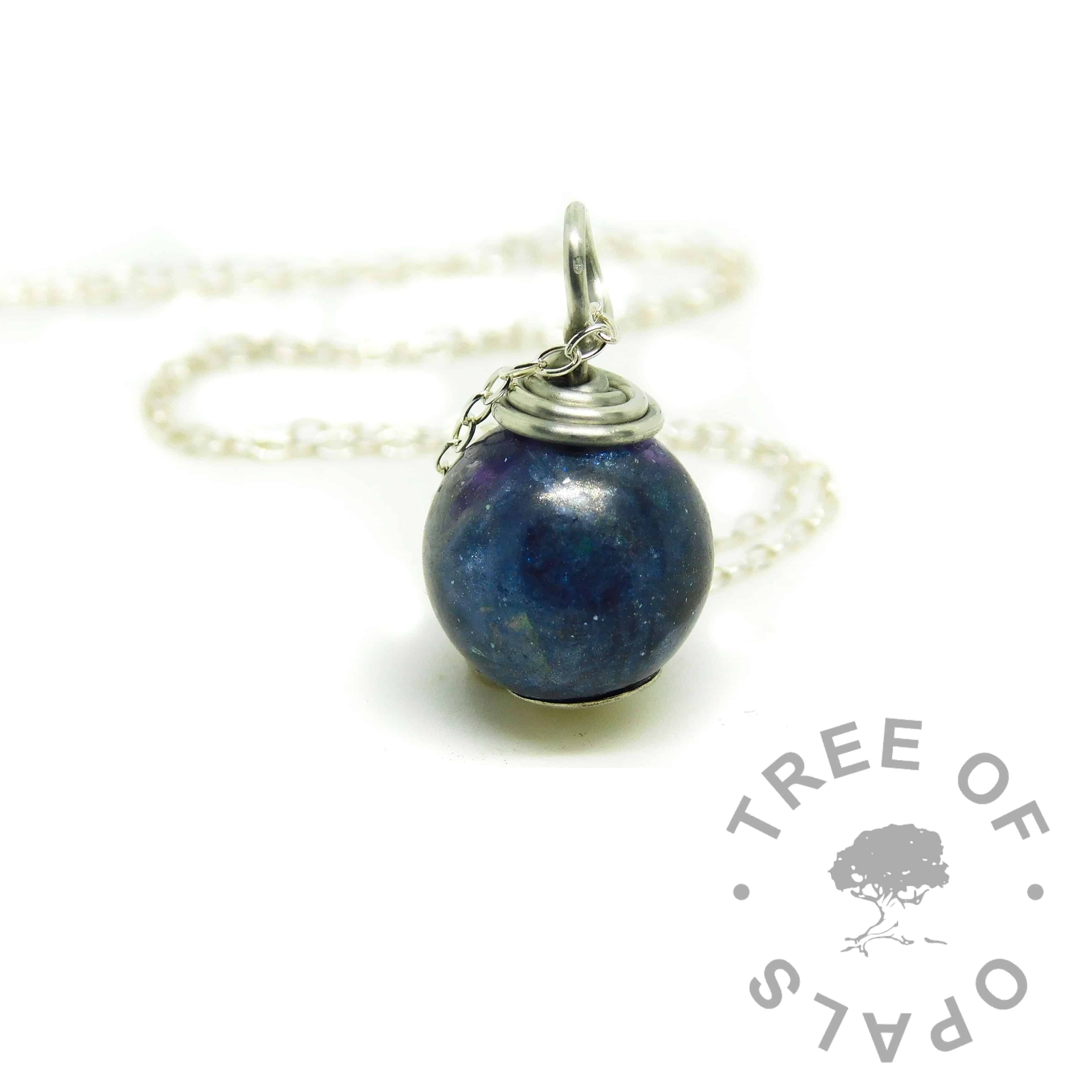 baby memorial pearl with aegean blue resin sparkle mix, necklace setting