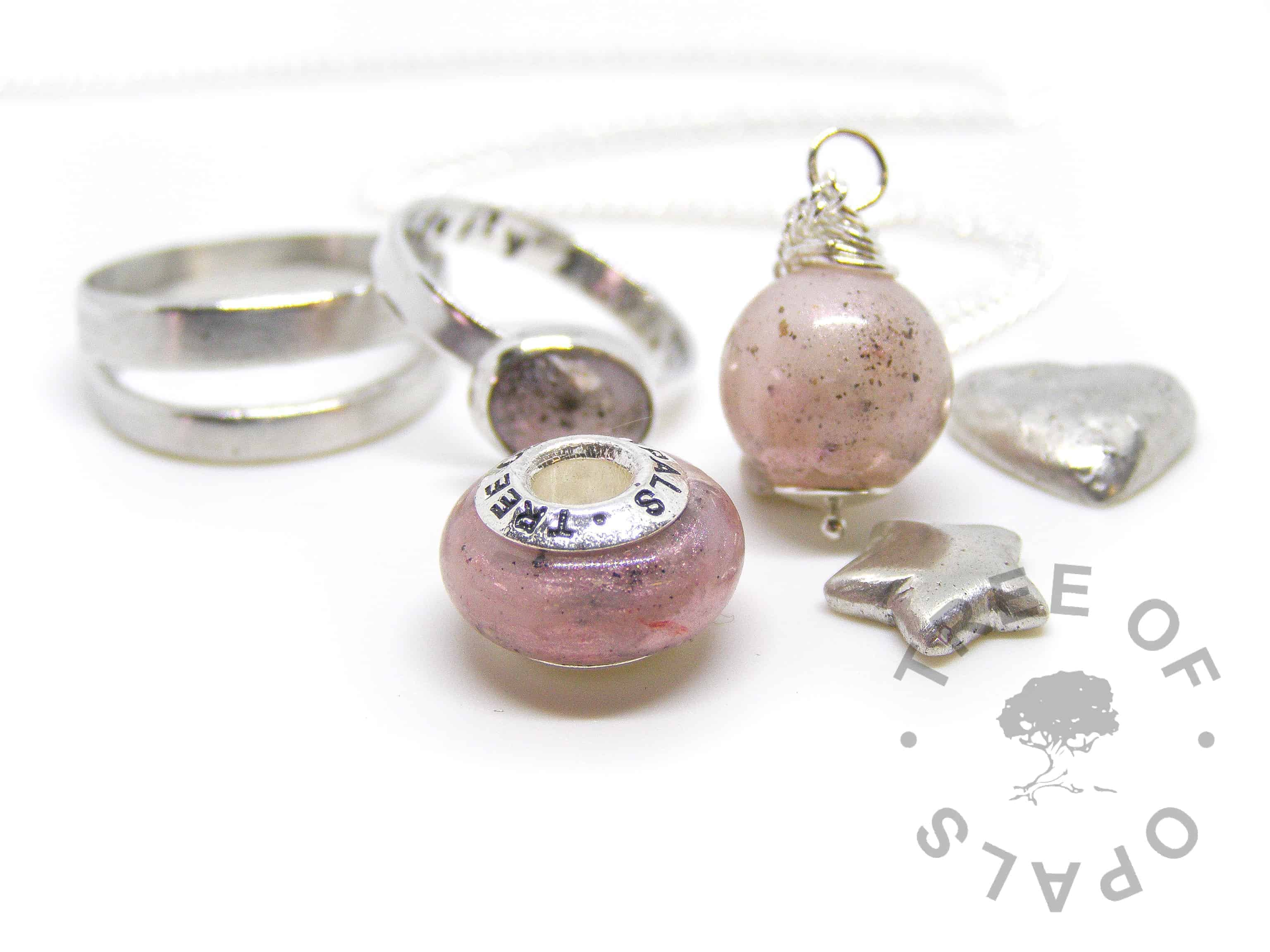 pro bono baby loss family order pinks. Cremation ash and breastmilk pearl, charm and ring with lemonade pink shimmer, and silver clay cremation ash pieces, memorial charm handmade by Tree of Opals keepsakes 2018 family order