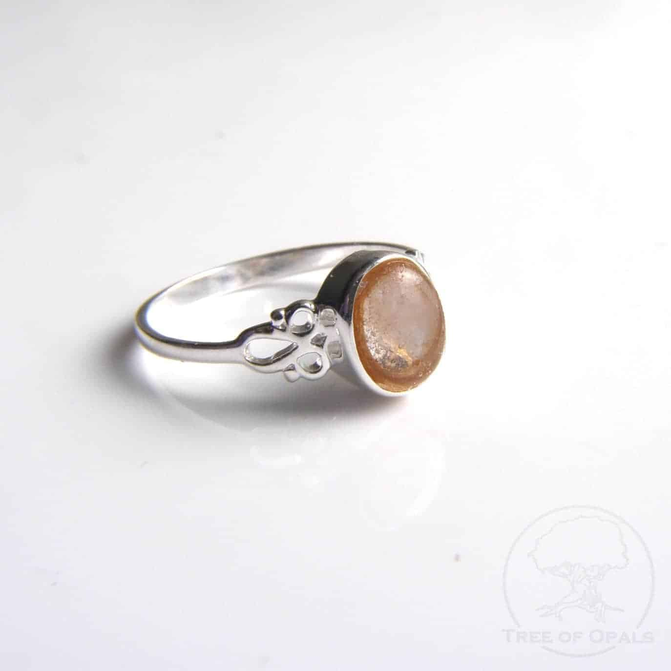 Rose quartz ring with a lock of hair we were privileged enough to make for Fleur-Rose's mama and auntie