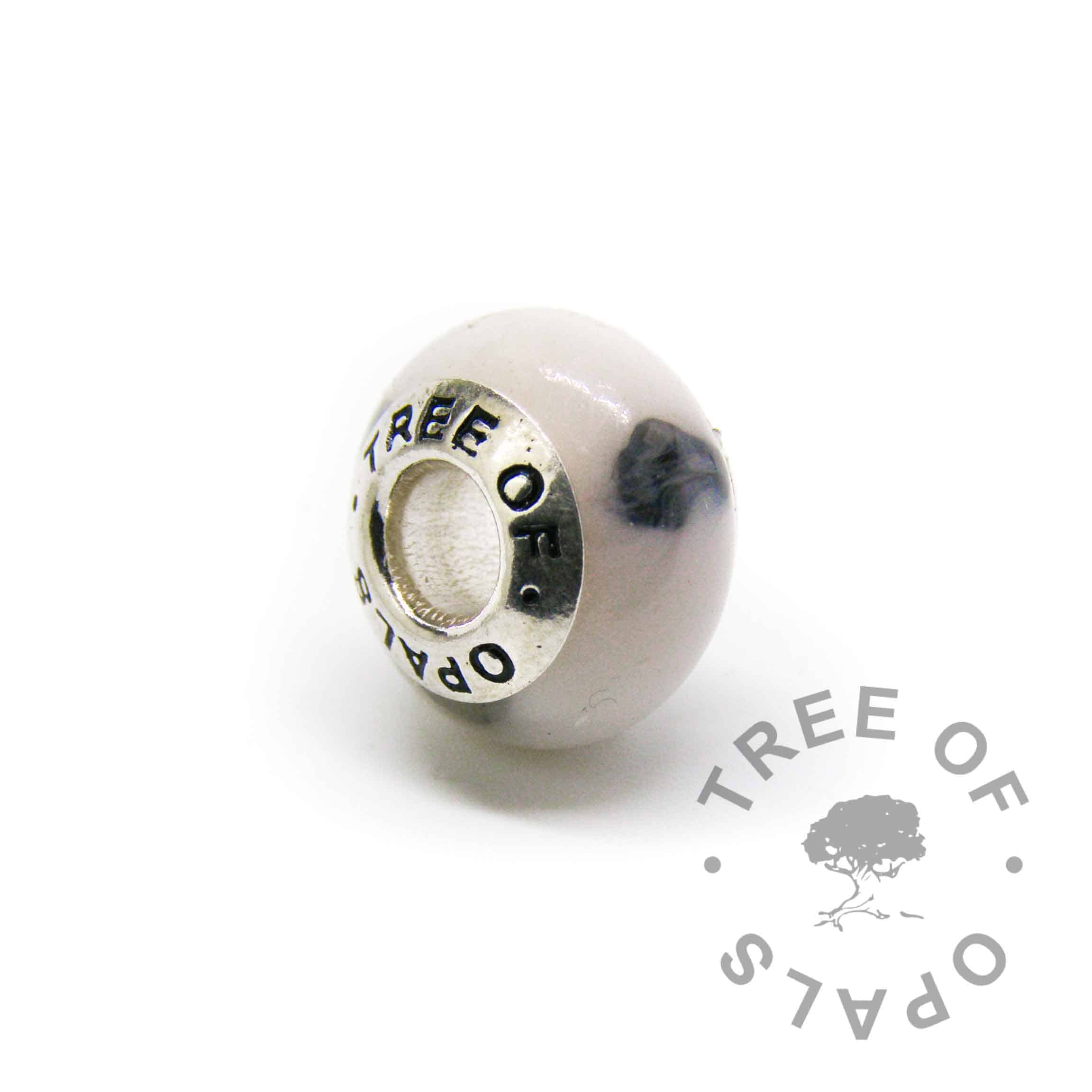 breastmilk charm with classic milk and sapphire for September birthstone or 6 year breastfeeding award, charm bead for Pandora bracelets  and solid sterling silver Tree of Opals core