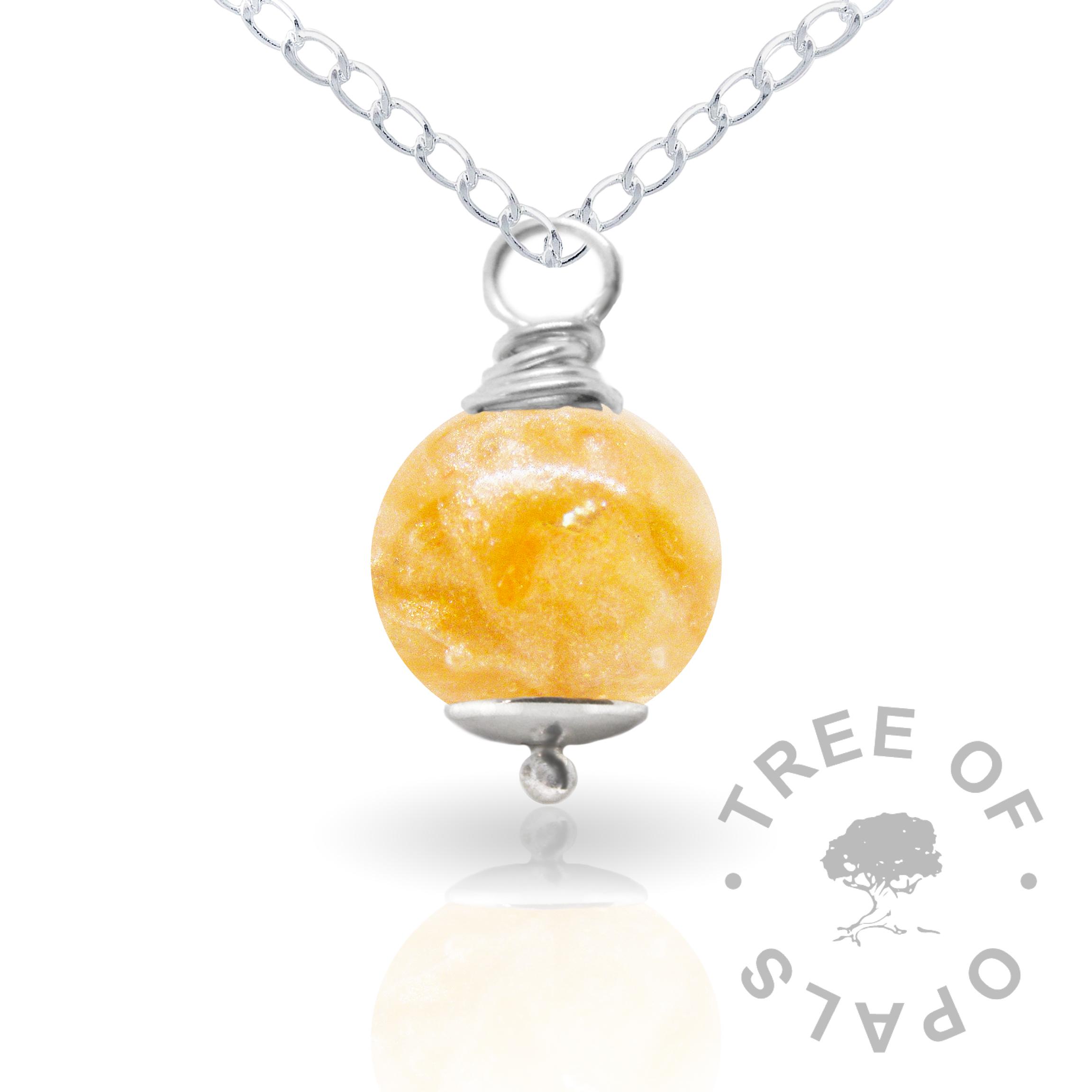 tangerine orange cremation ash pearl