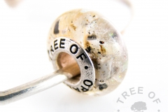 cremation ash charm bead with crystal clear resin and orange opalescent flakes sterling silver Tree of Opals solid core