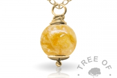 tangerine orange gold cremation ash pearl Tree of Opals memorial jewellery
