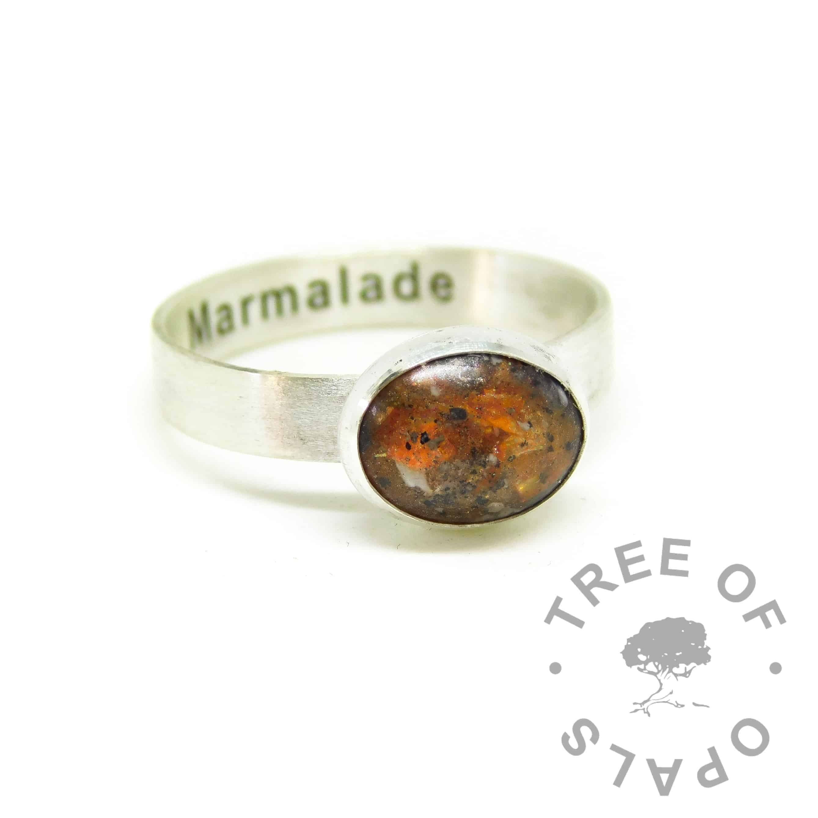 orange ashes ring. Engraved inside in Arial font, brushed band ring. Tangerine orange resin sparkle mix