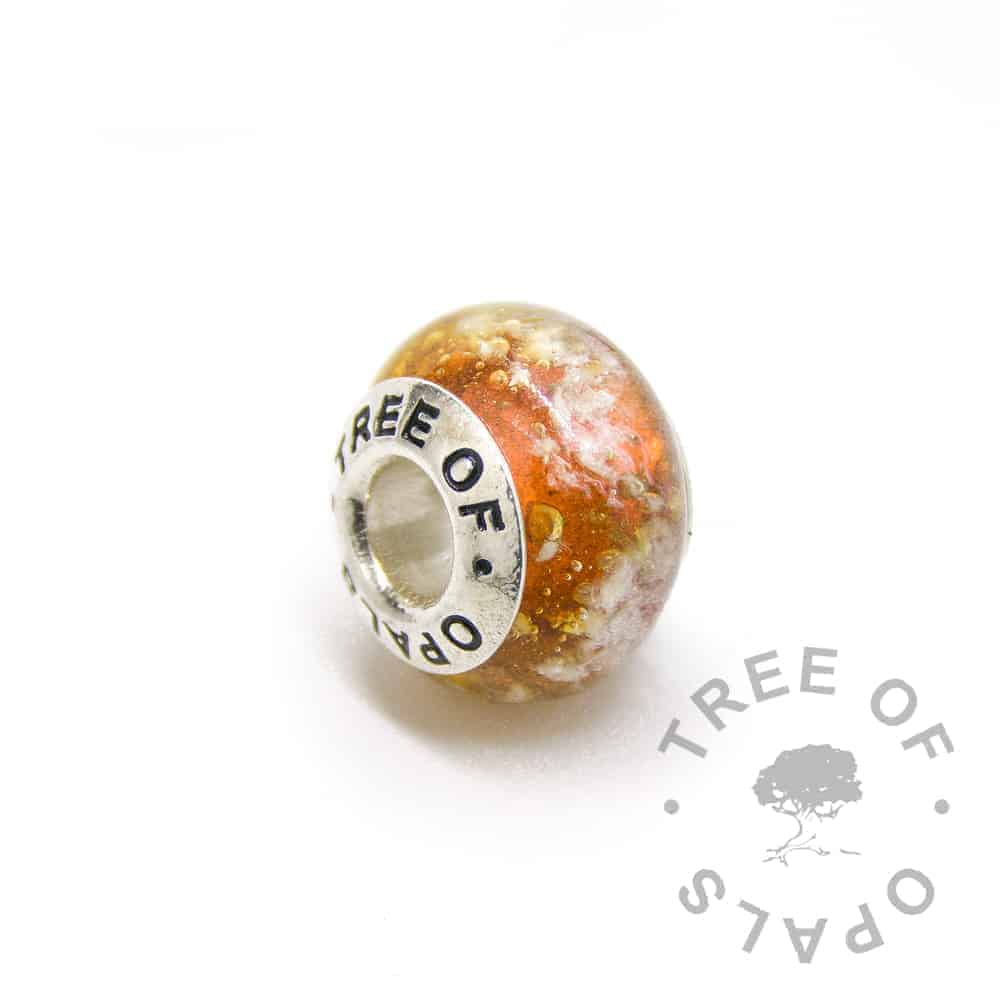 orange glass cremation charm ashes, solid sterling silver core for Pandora bracelets, memorial jewellery by Tree of Opals