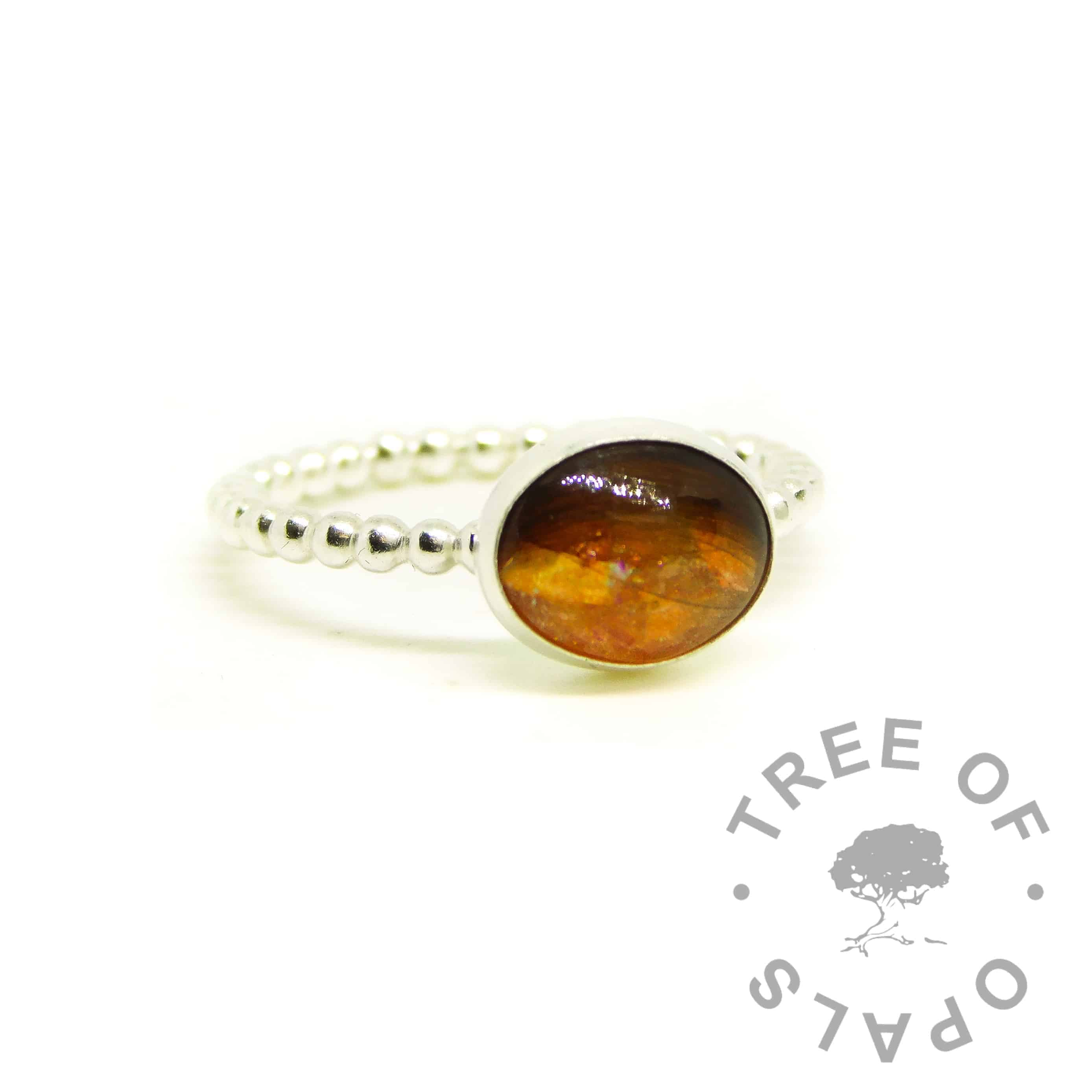orange hair ring on bubble wire band. Tangerine orange resin sparke mix