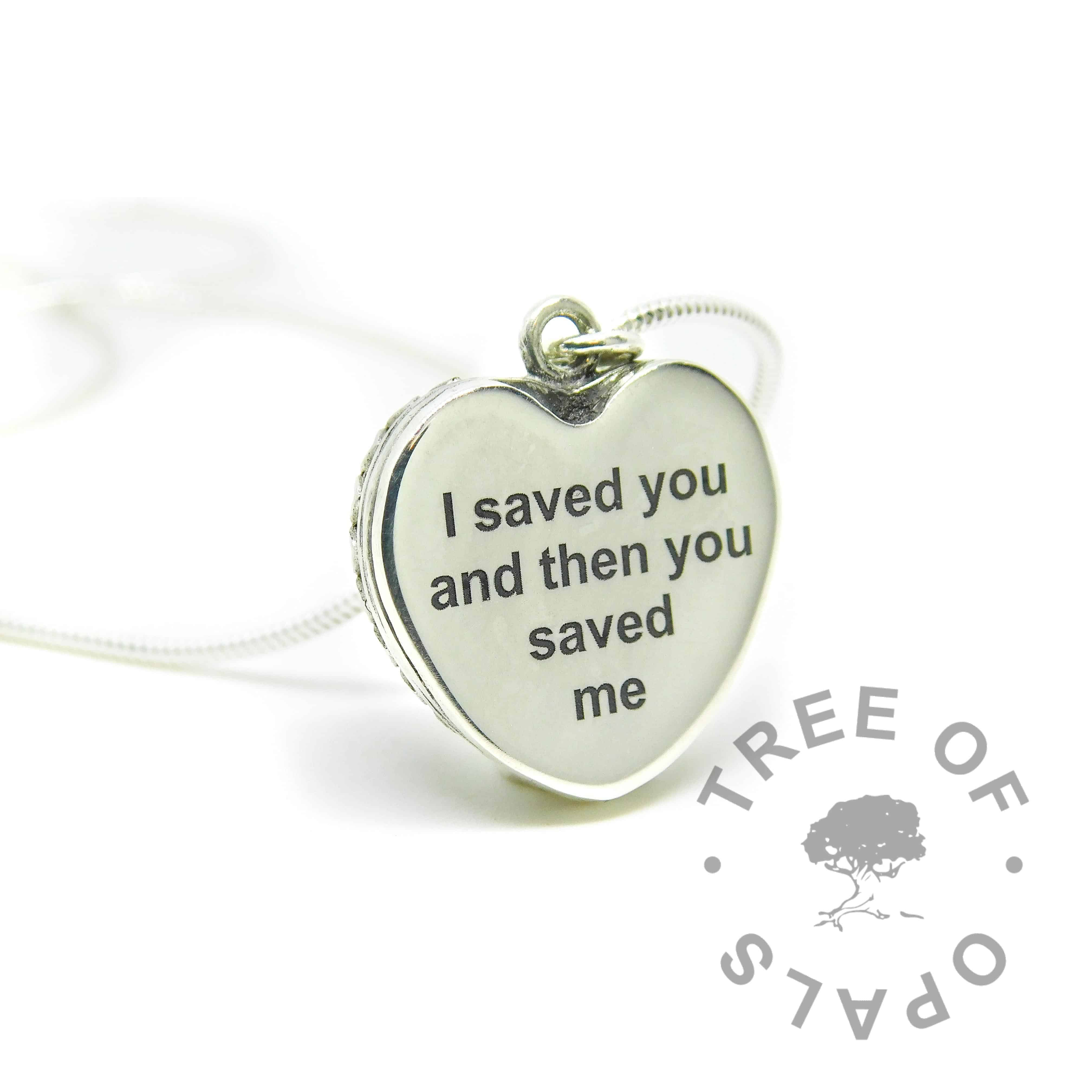 Arial font engraved memorial heart necklace (back). 20mm wide heart. Handmade with solid sterling EcoSilver. Watermarked copyright Tree of Opals memorial jewellery image