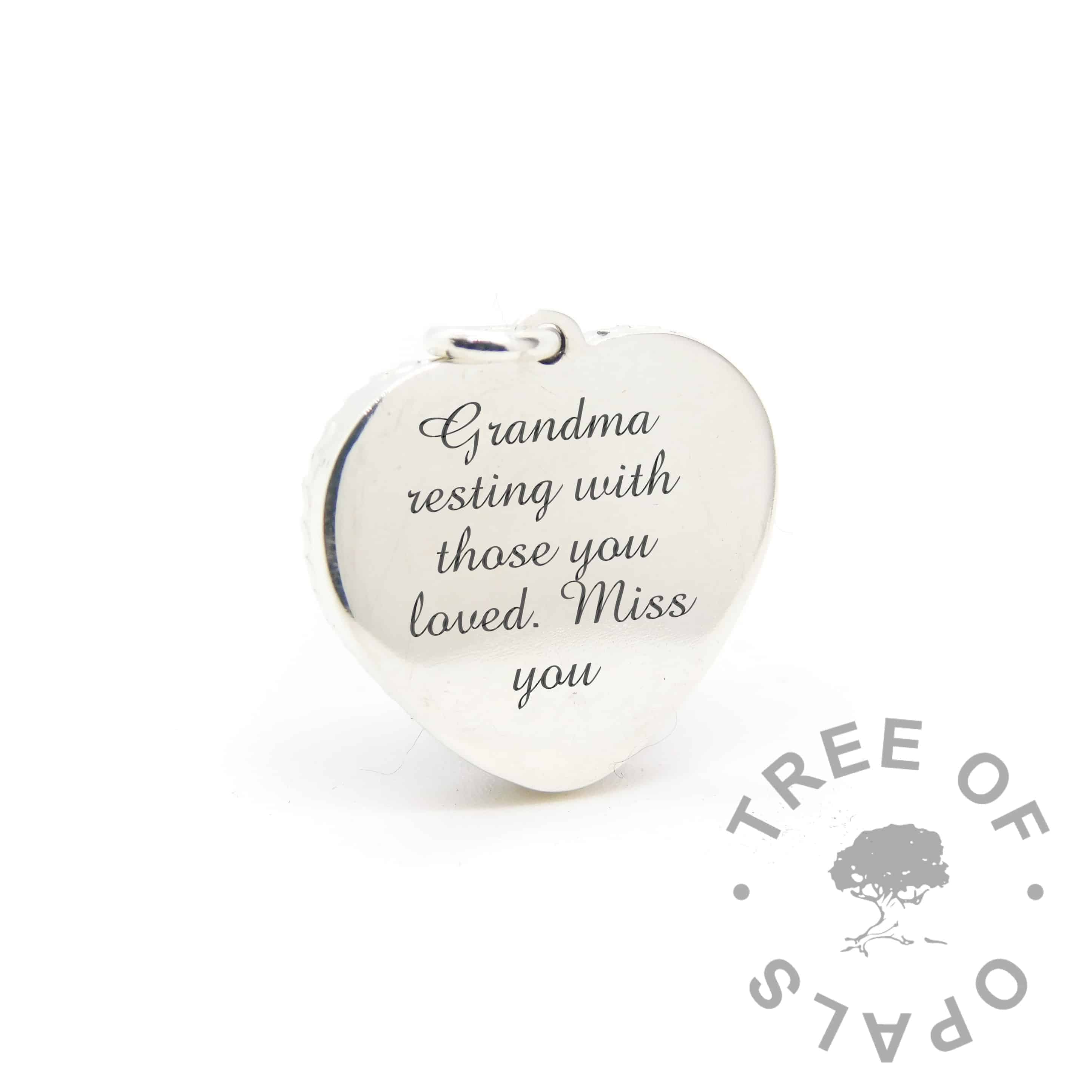 New style heart necklace setting back, with Amazone BT engraving mockup (shown without necklace chain)