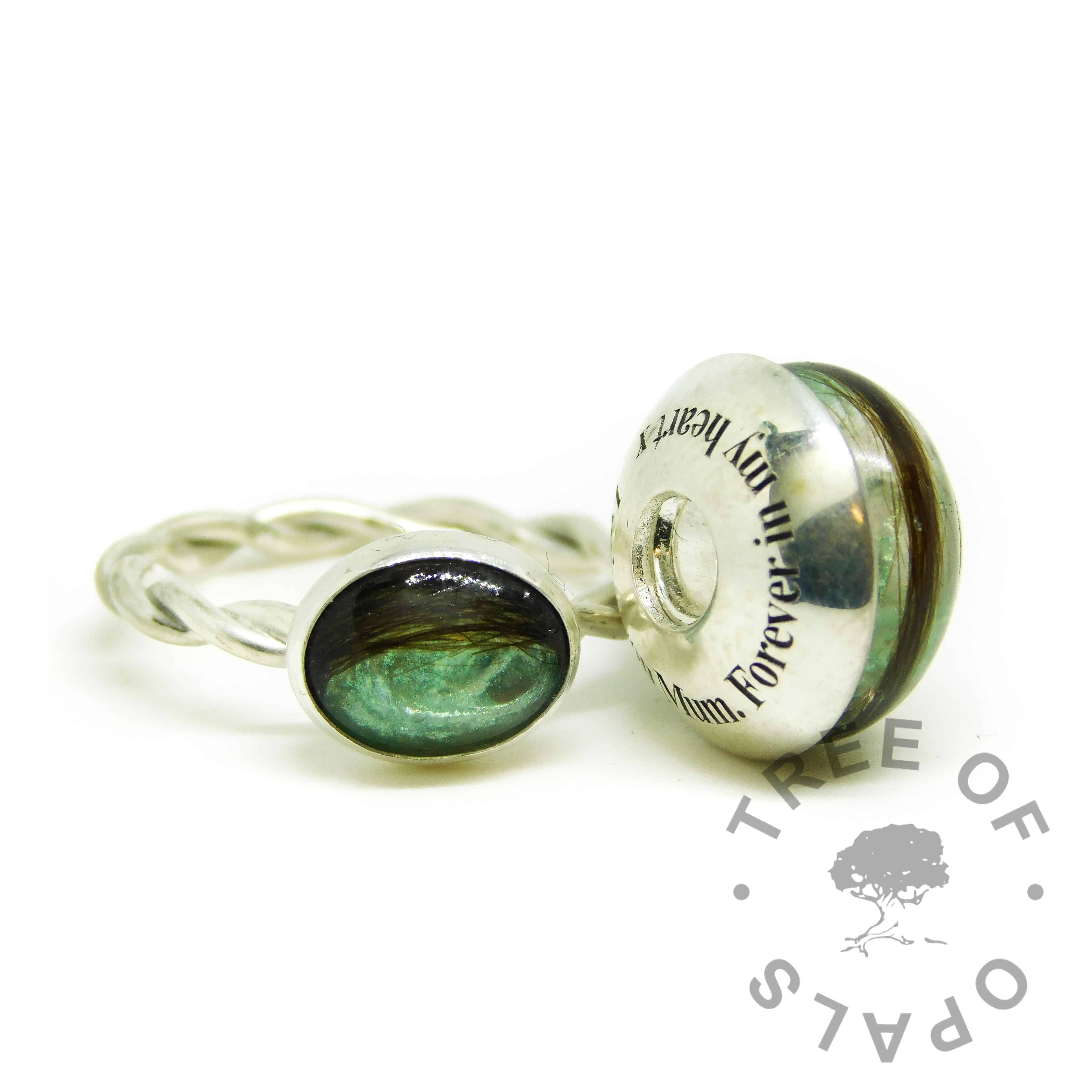 aqua hair charm, lock of hair charm bead and twisted band ring with Angelic aqua resin sparkle mix