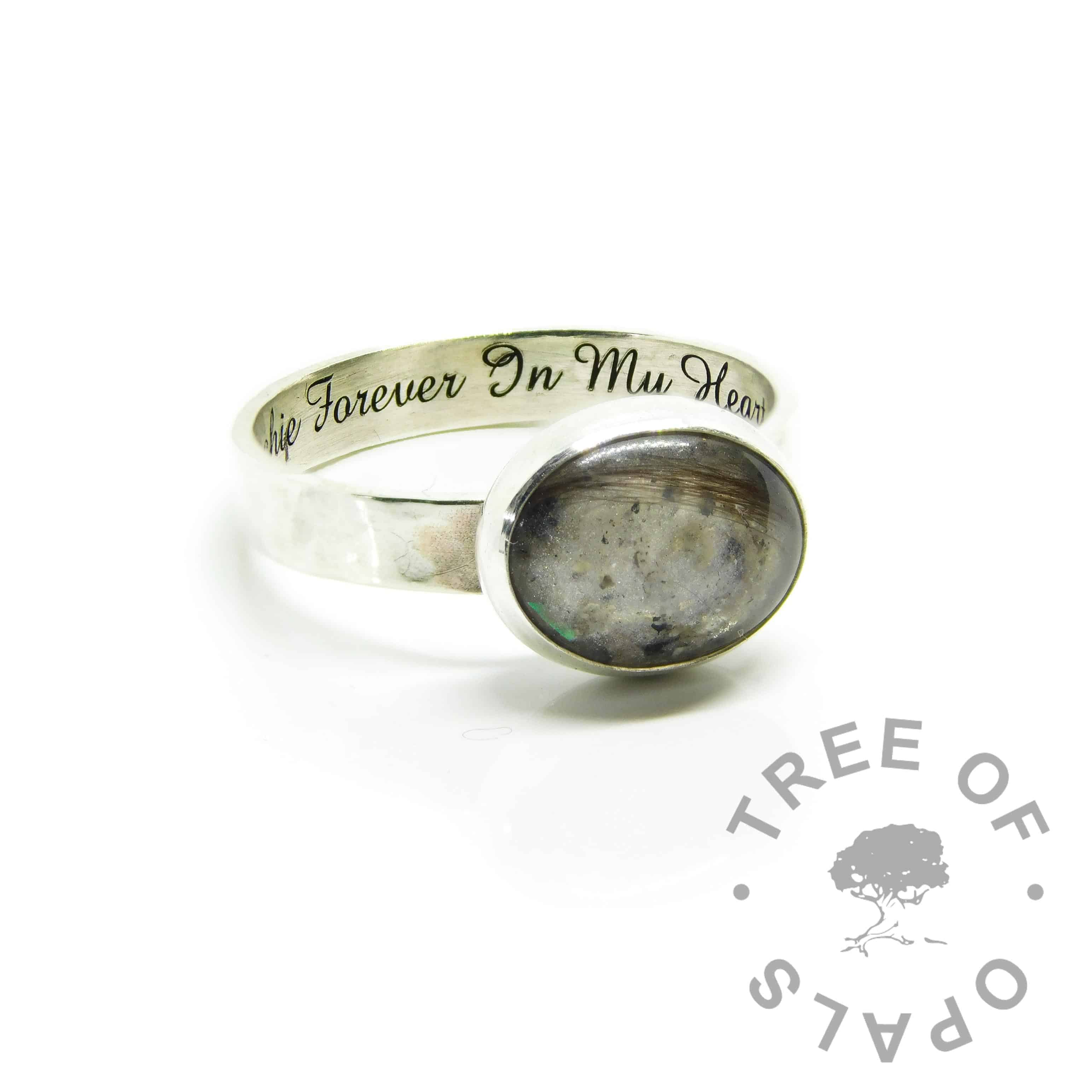 ashes and hair ring white, unicorn white resin sparkle mix, 3mm textured band ring setting, engraved inside in Amazone BT font