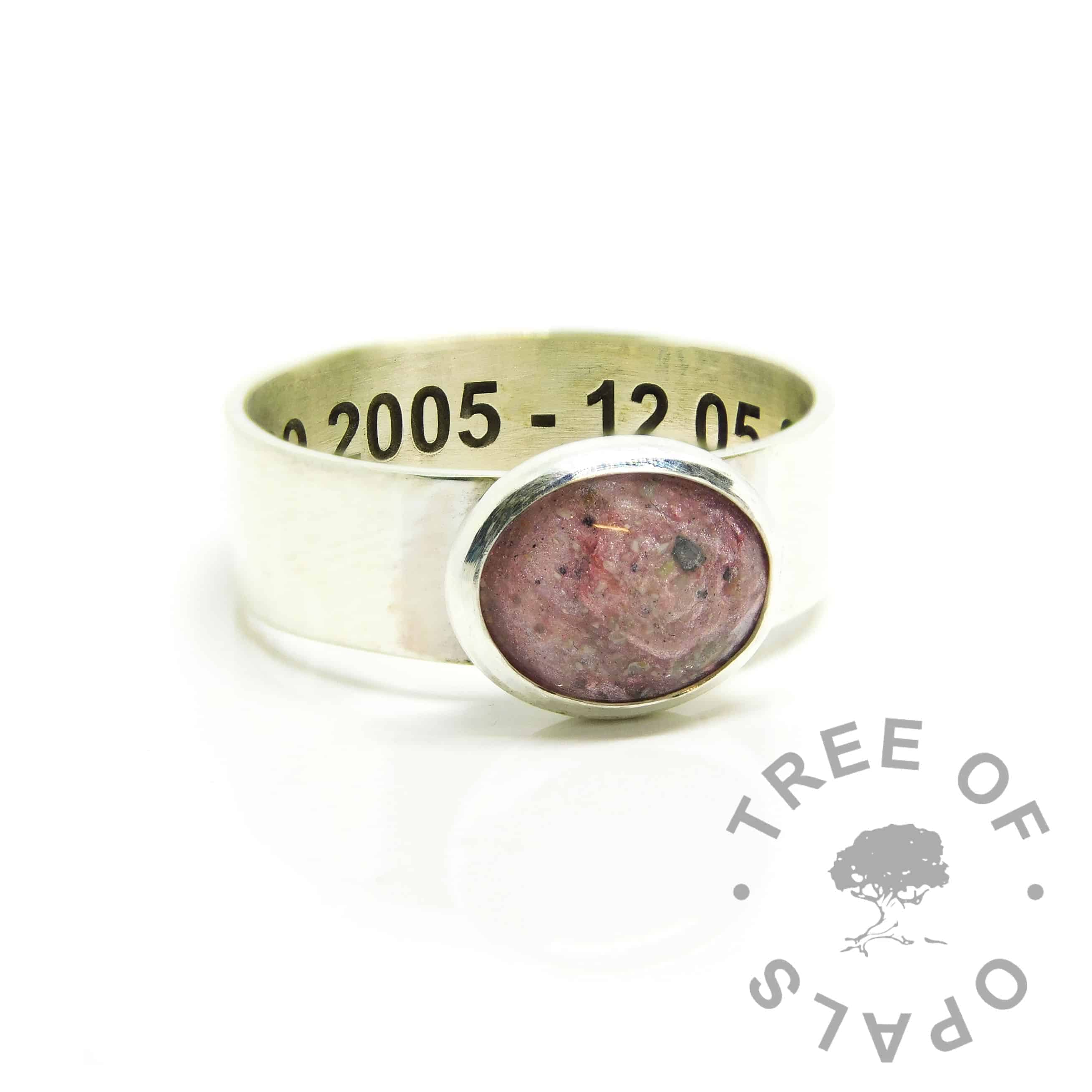 ashes ring pink, fairy pink resin sparkle mix, 6mm shiny band ring setting, engraved inside in arial font