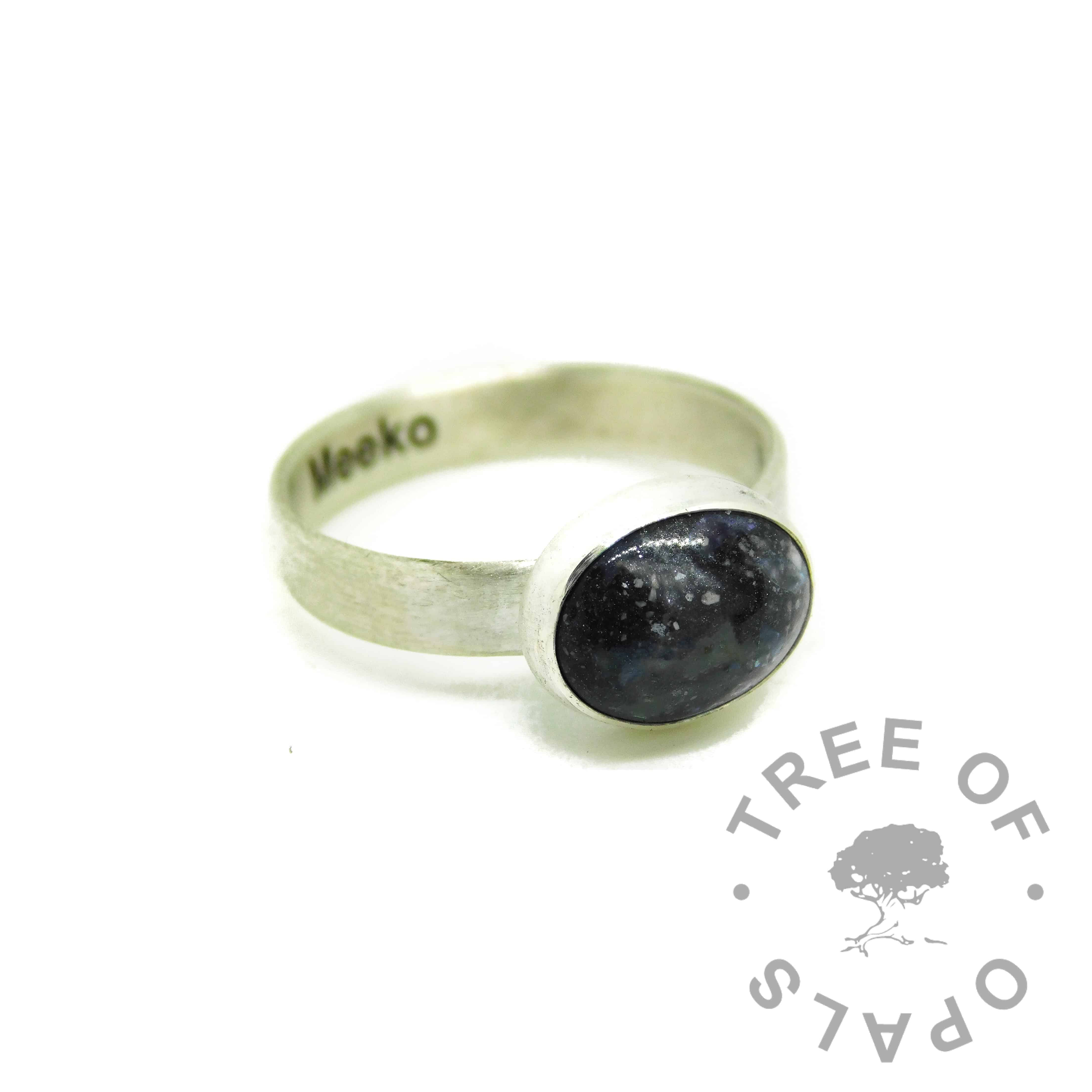 vampire black resin sparkle mix cremation ash ring, engraved brushed band