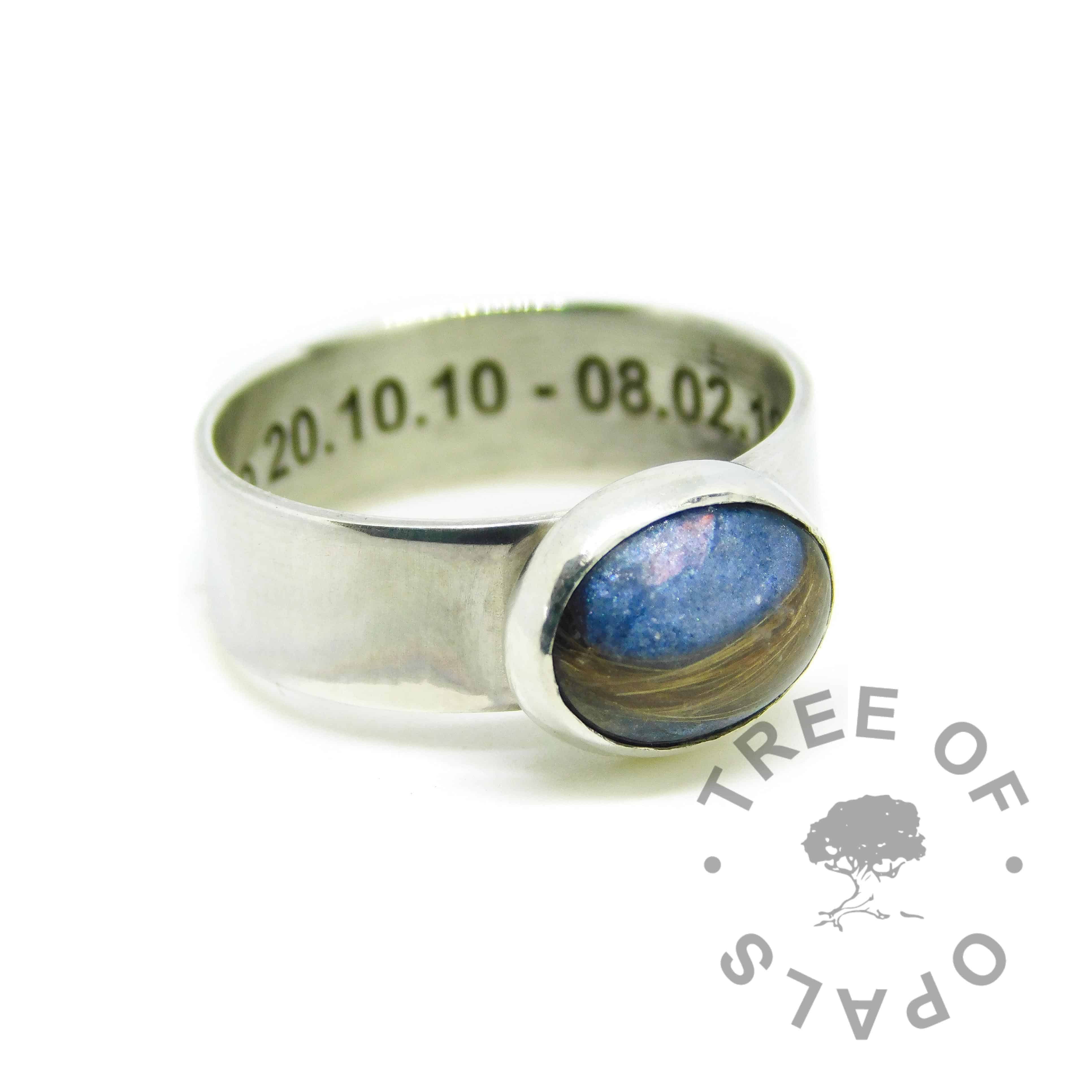 Aegean blue lock of hair ring. So beautifully shiny with special dates inside, mixed fur colours, no birthstone. 6mm shiny shank setting