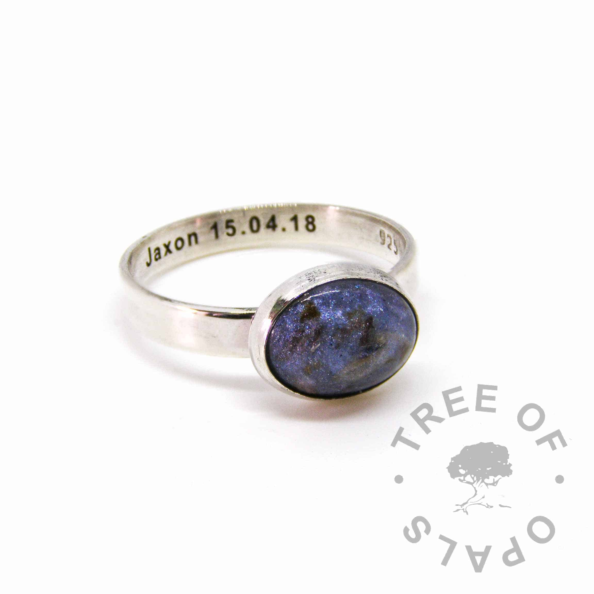 Aegean blue umbilical cord ring, 3mm shiny band engraved with a name and date of birth. Handmade in solid sterling silver