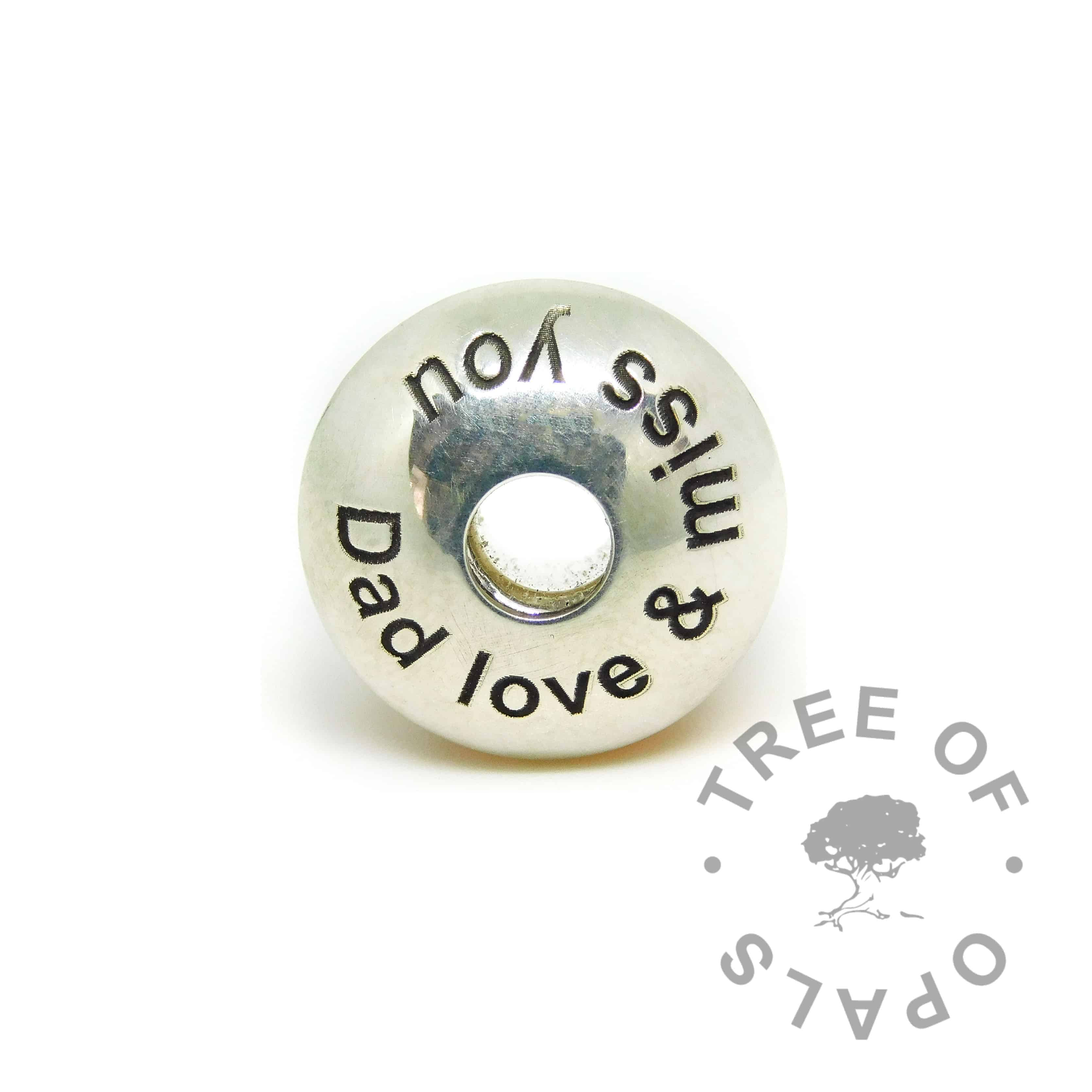 charm washer Arial font with Dad love & miss you