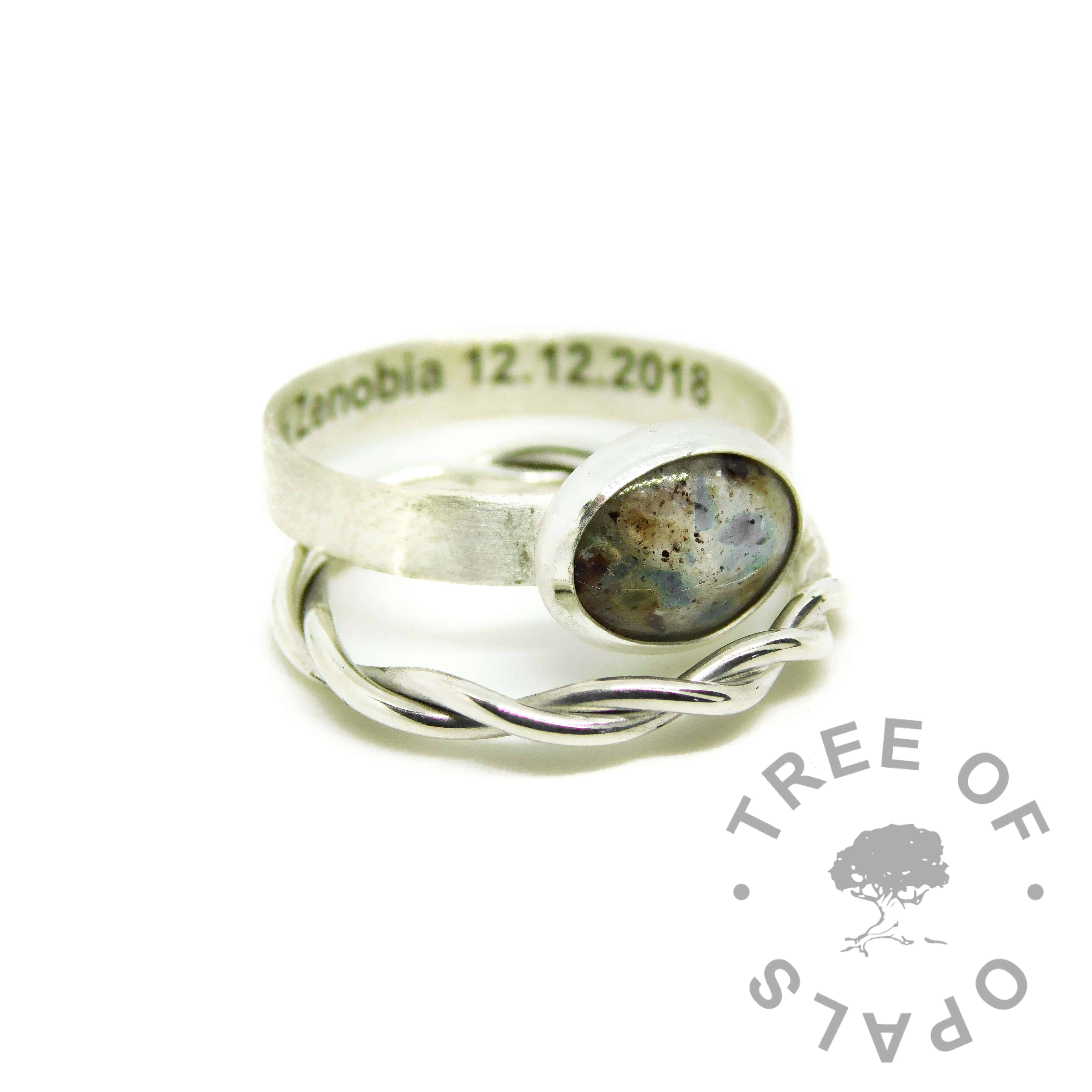 umbilical cord ring with December birthstone, engraved inside in arial font and twisted stacker