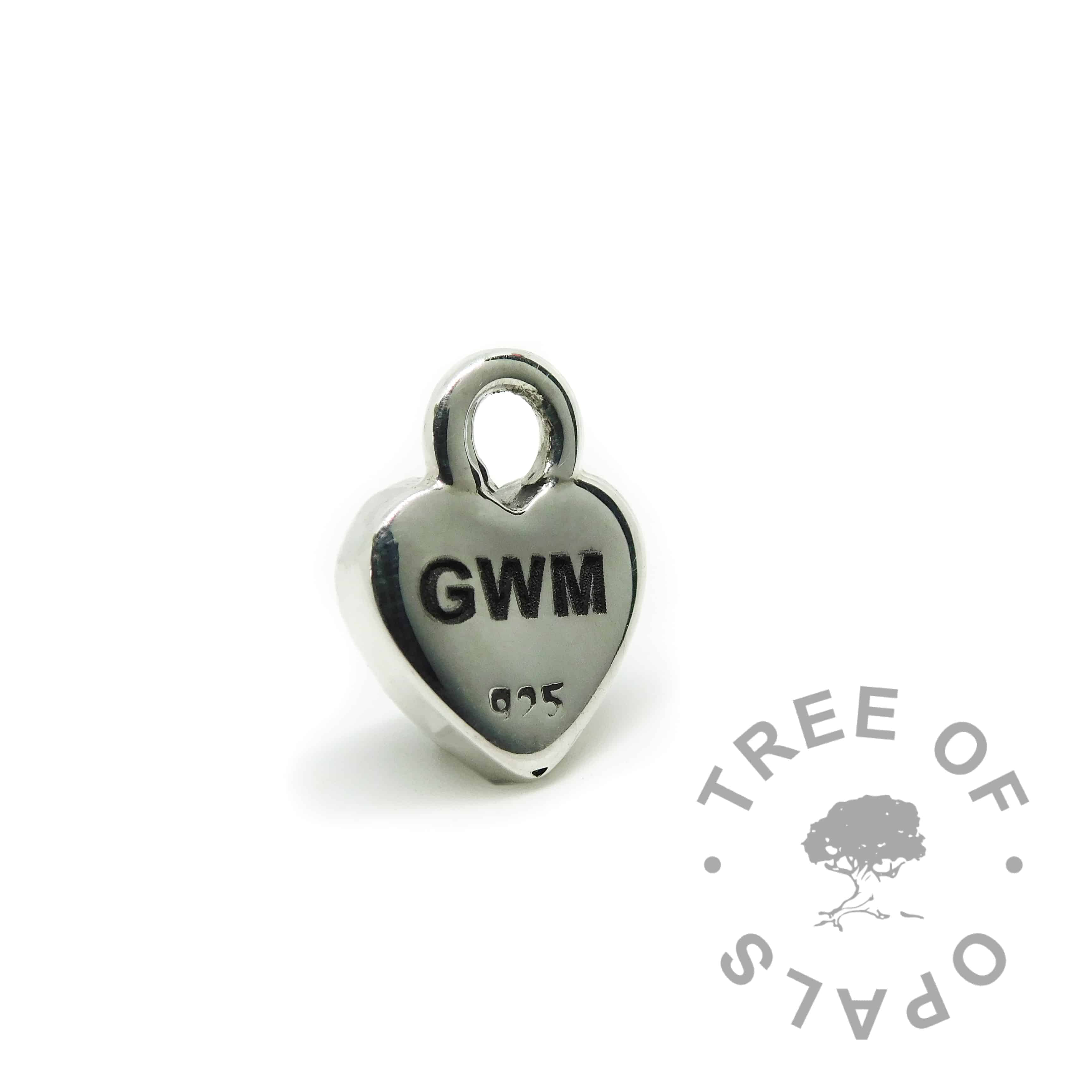 10mm heart, shown with the back engraved