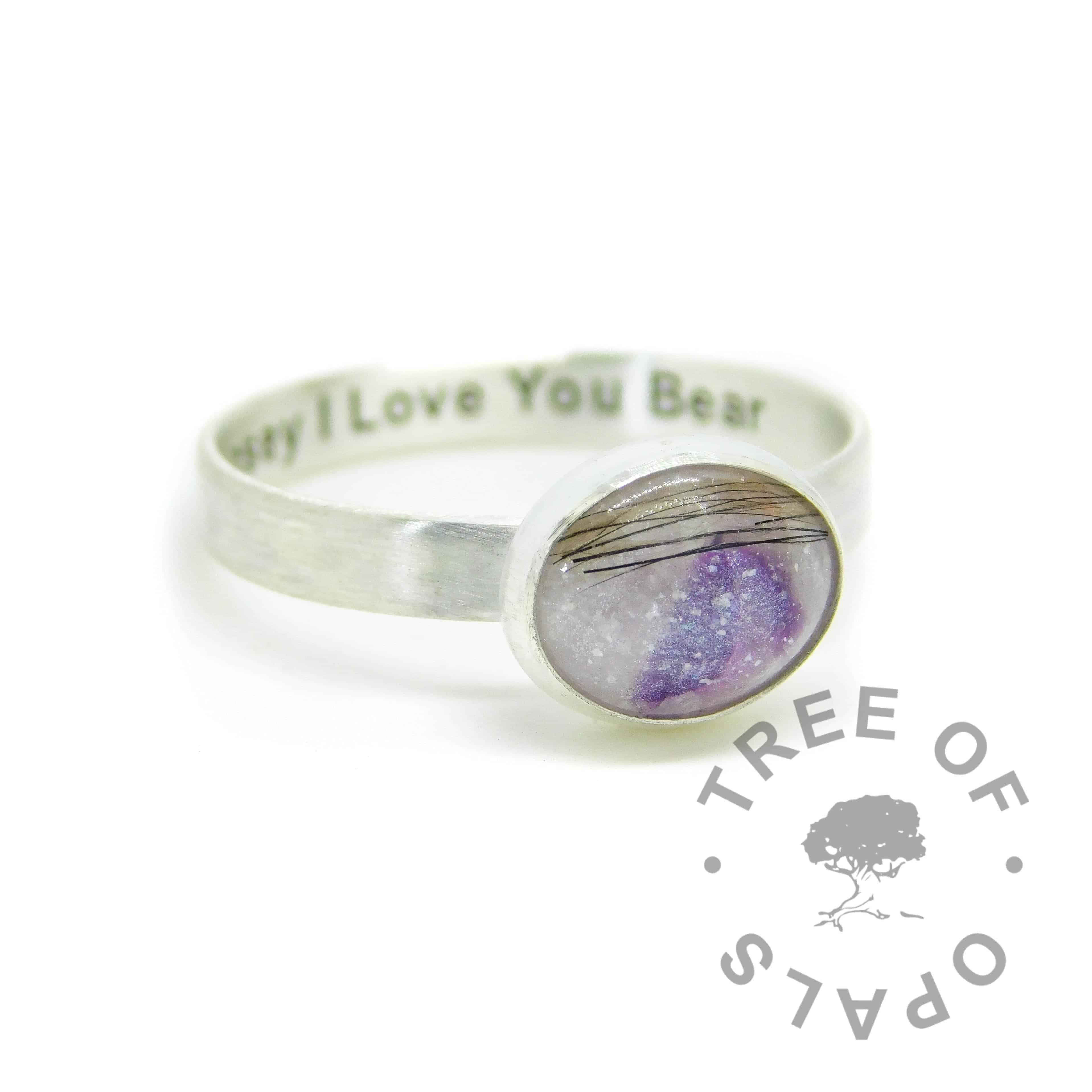 Engraved brushed band lock of hair ring with unicorn white sparkle mix and February birthstone amethyst. Engraved inside in Arial font. Handmade solid sterling silver memorial ring