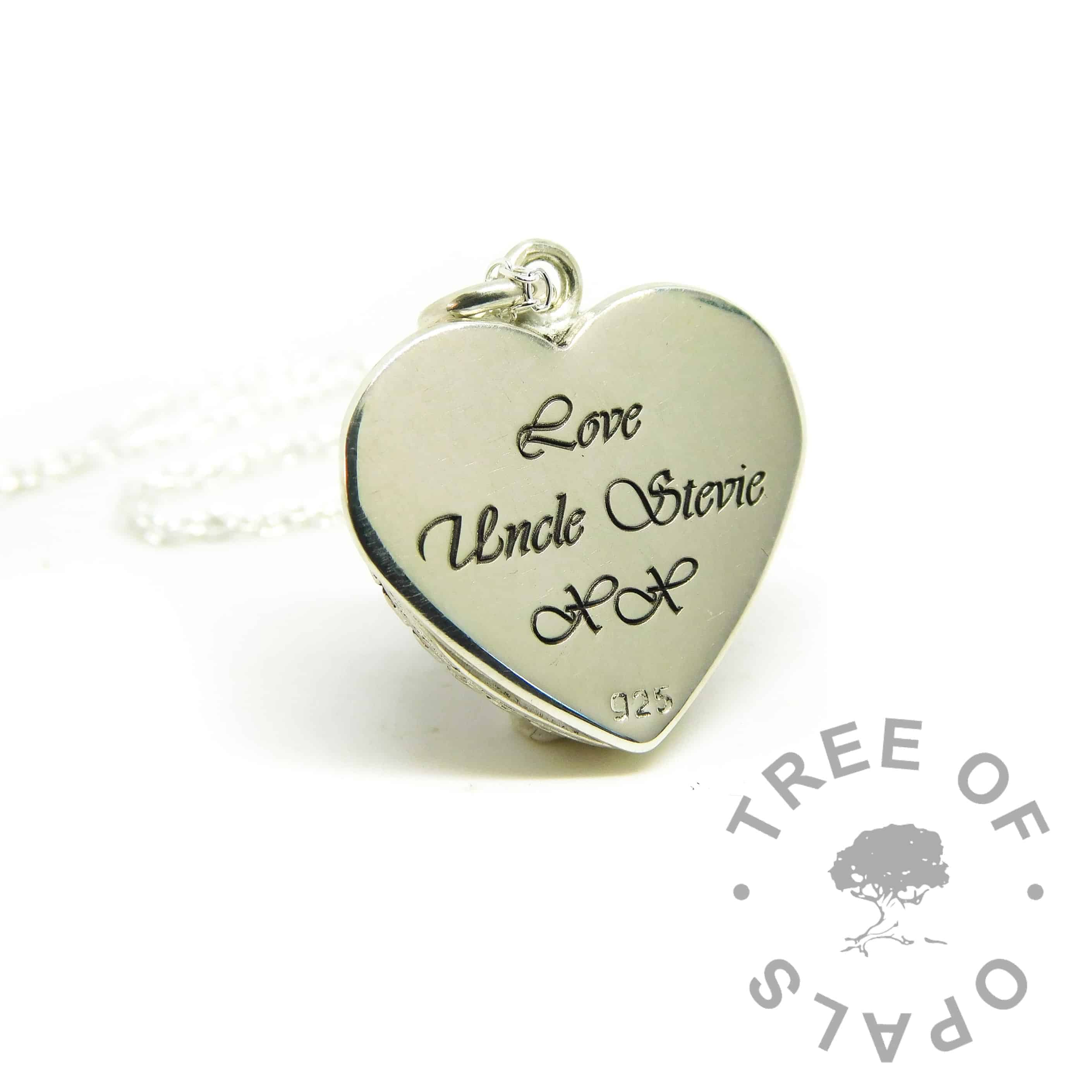 engraved heart necklace, engraved in Vivaldi font