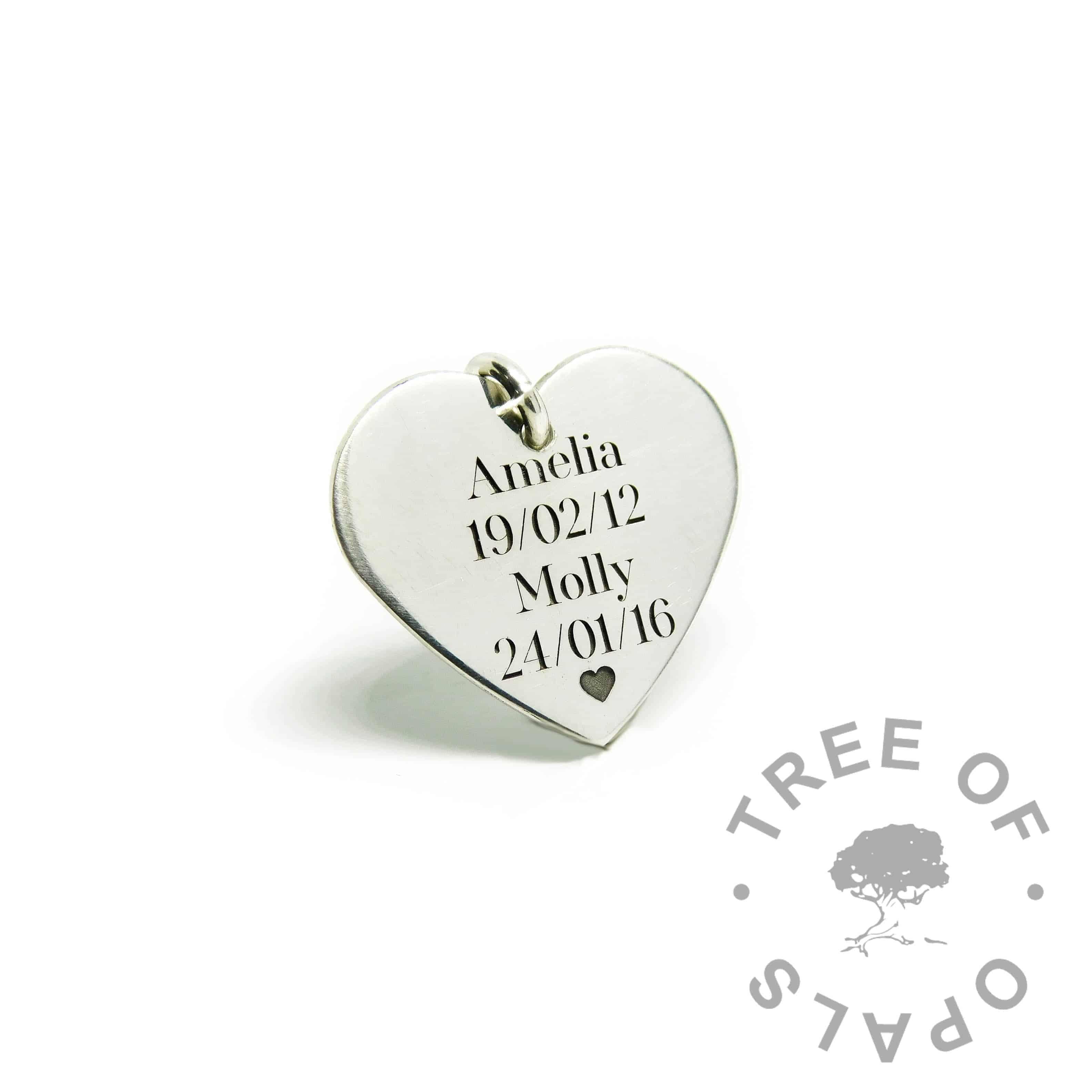 engraved medium heart pendant, Silver South Serif font with heart emoji
