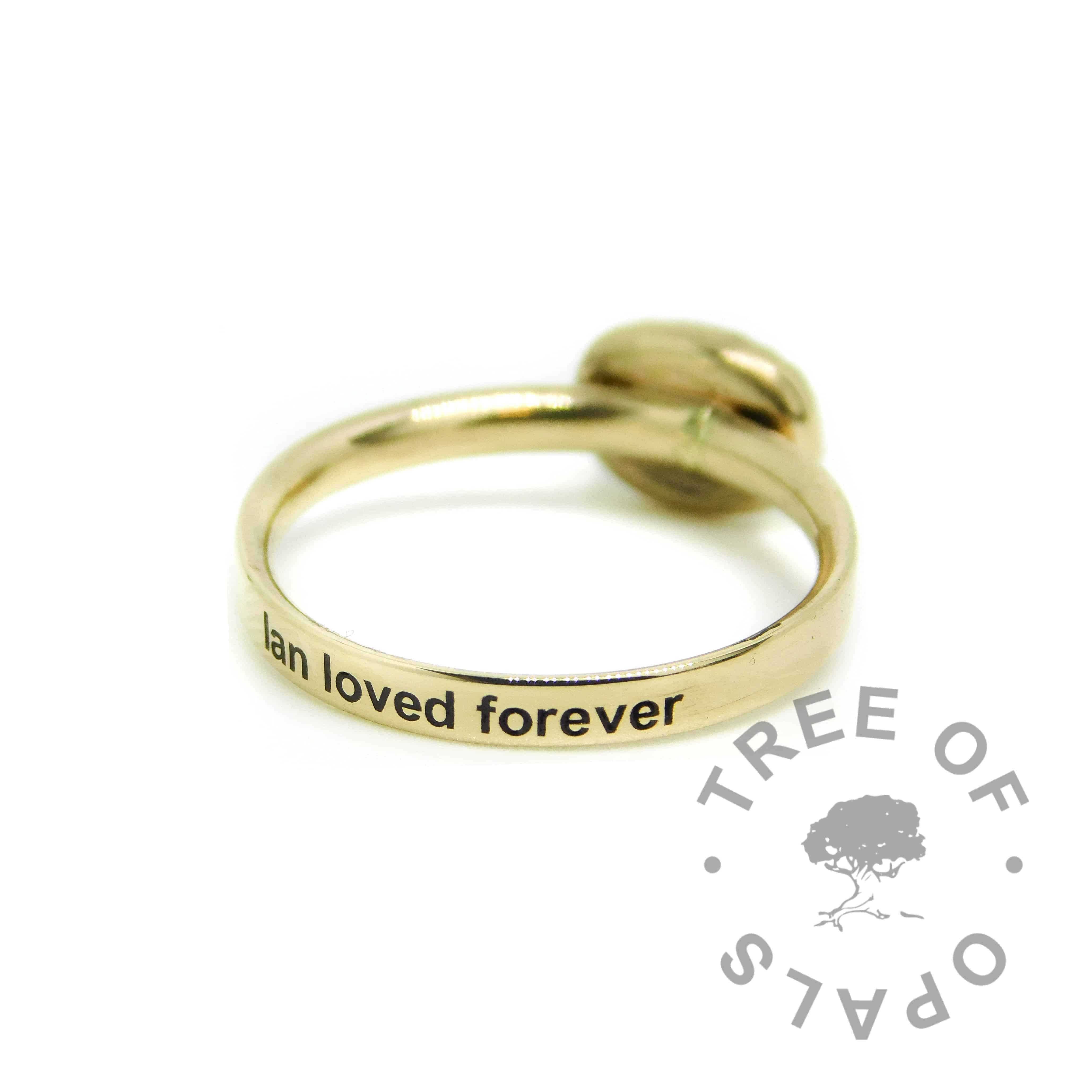 solid gold  memorial ring, shiny band 14ct gold hallmarked stacking ring. 8x6mm serrated cabochon with text engraving on the outside of the band in Arial font