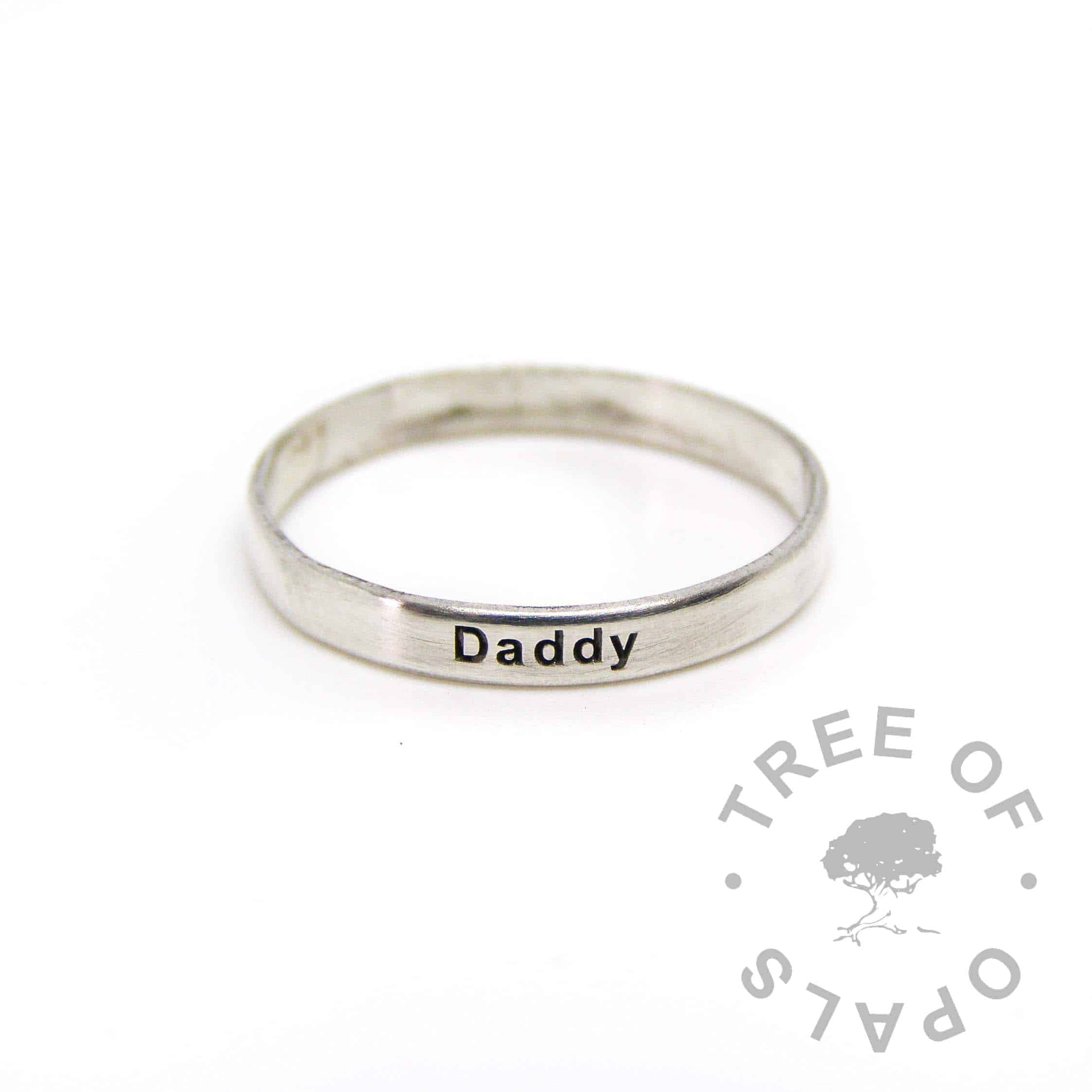 engraved stacker 3mm shiny Daddy ring